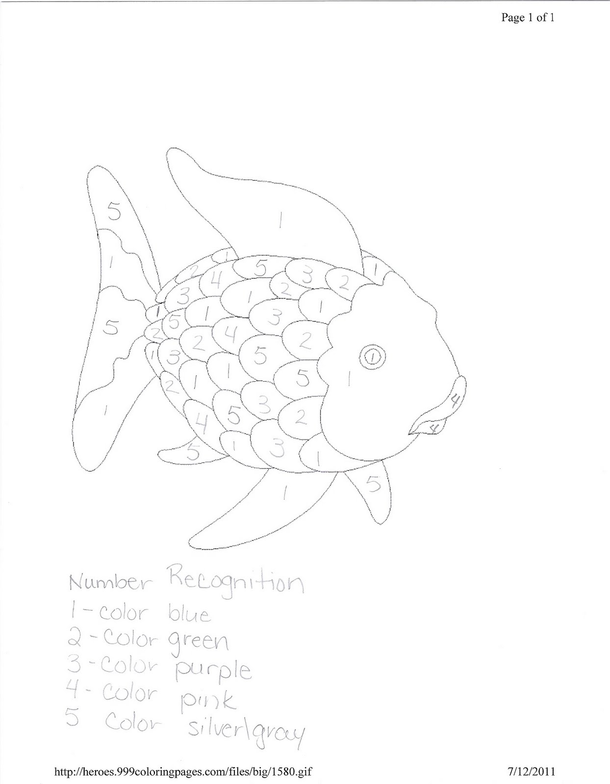 Rainbow Fish Worksheet For Writing