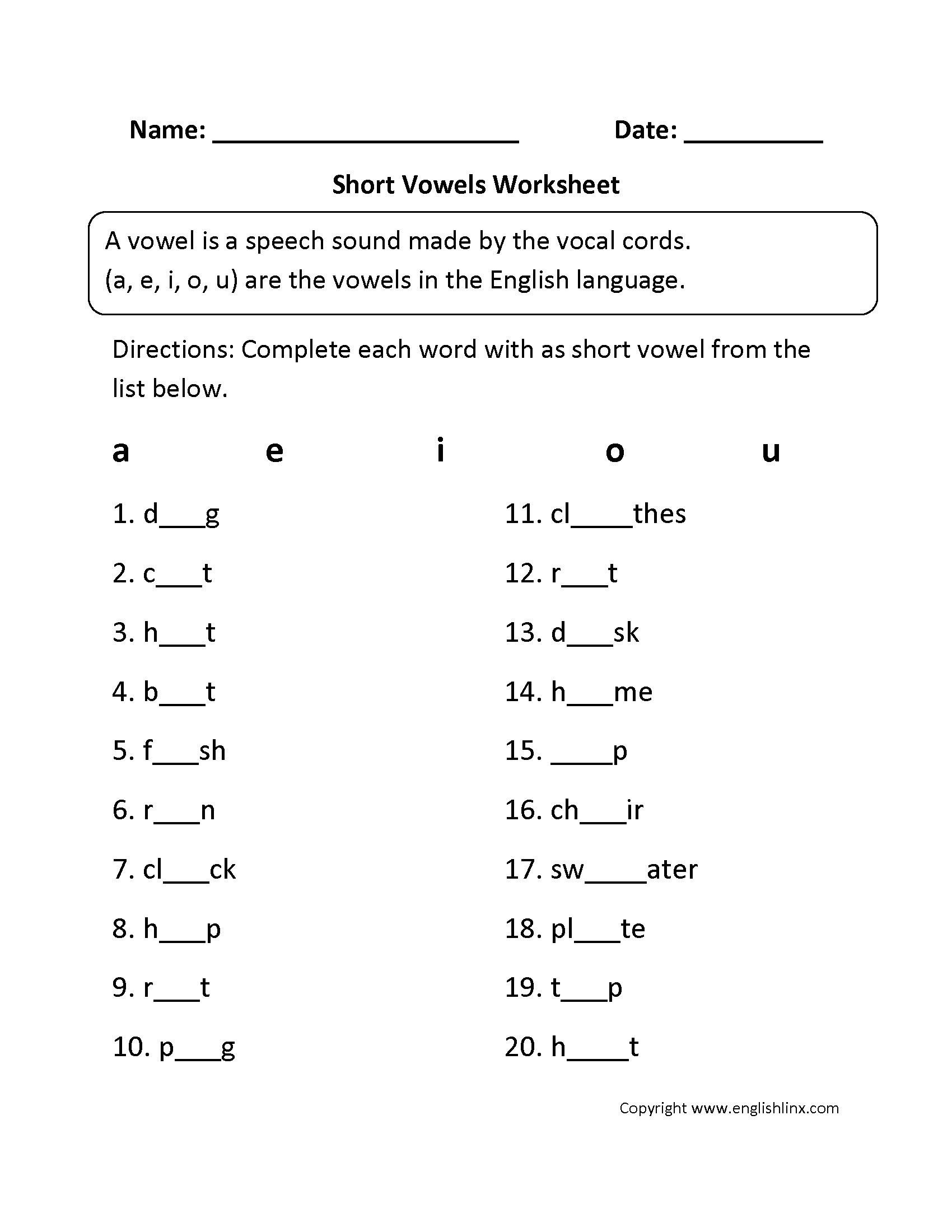 13 Best Images Of Kindergarten Vowel Worksheets