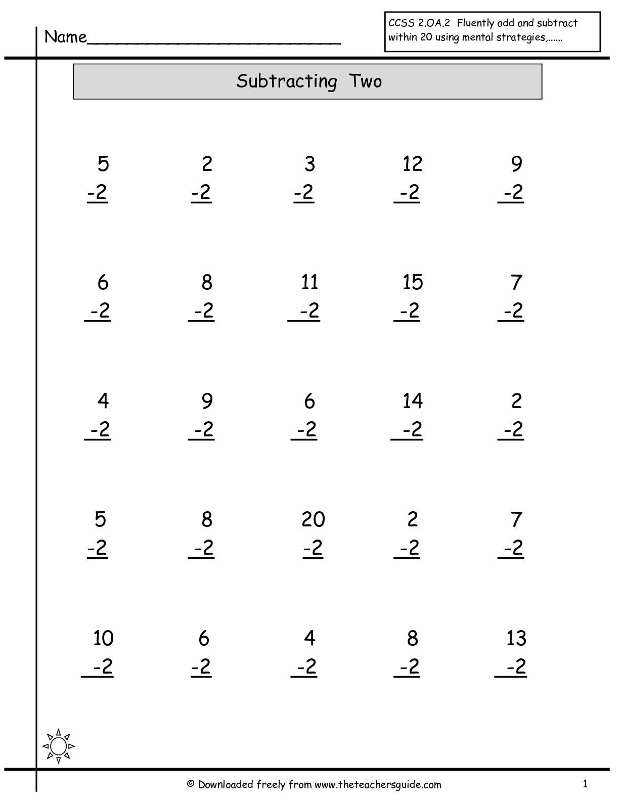 18 Best Images Of Math Worksheet Single Digit Subtraction
