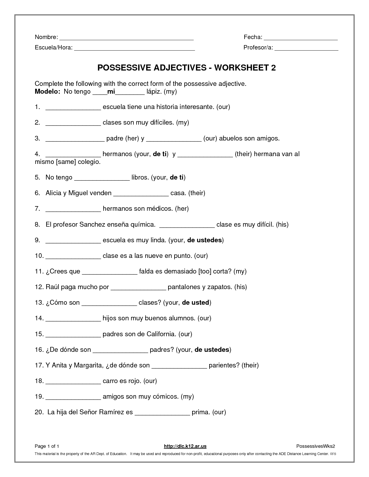 10 Best Images Of Worksheets Demonstrative Adjective English