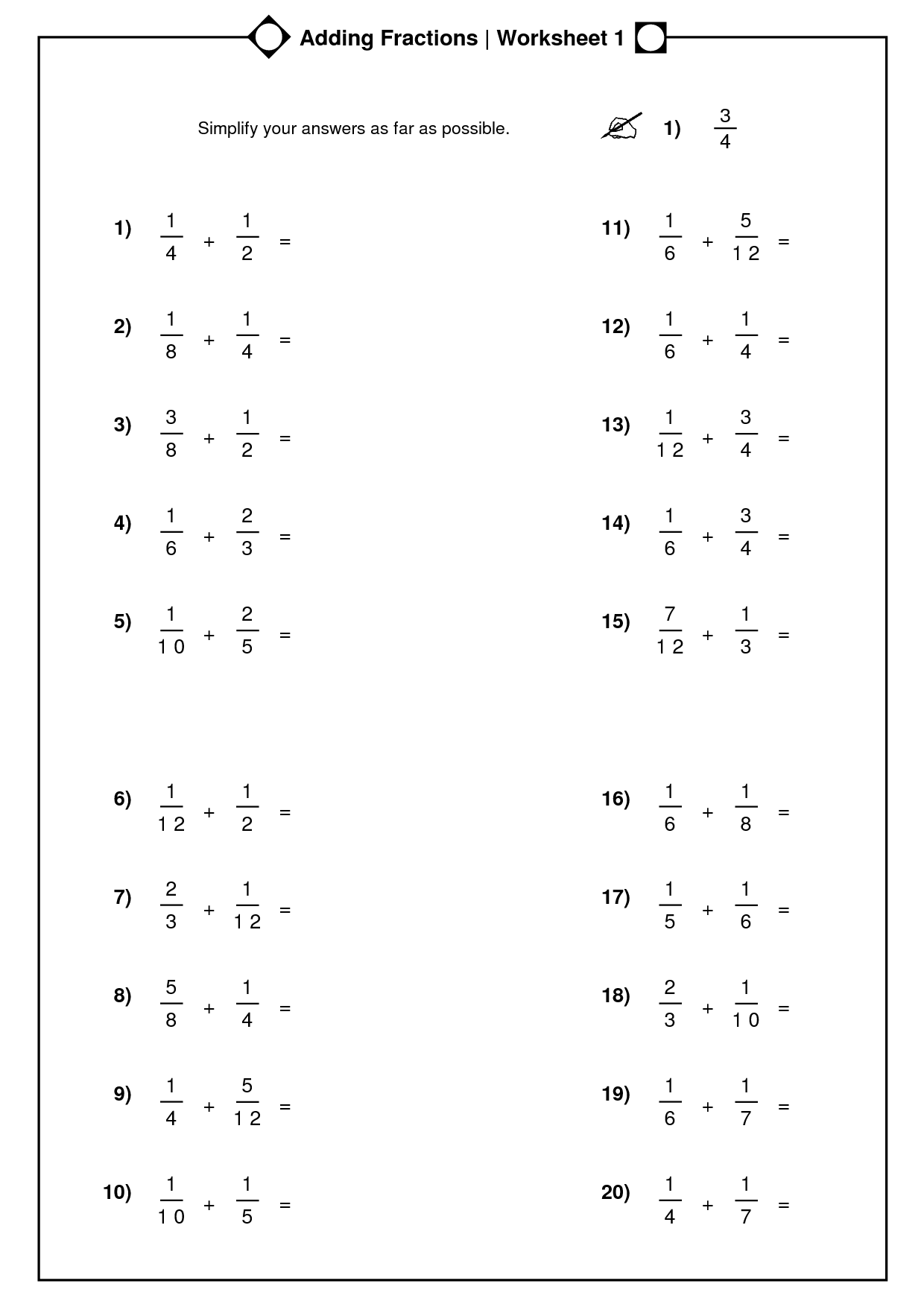 Mixed Numbers Practice Worksheet