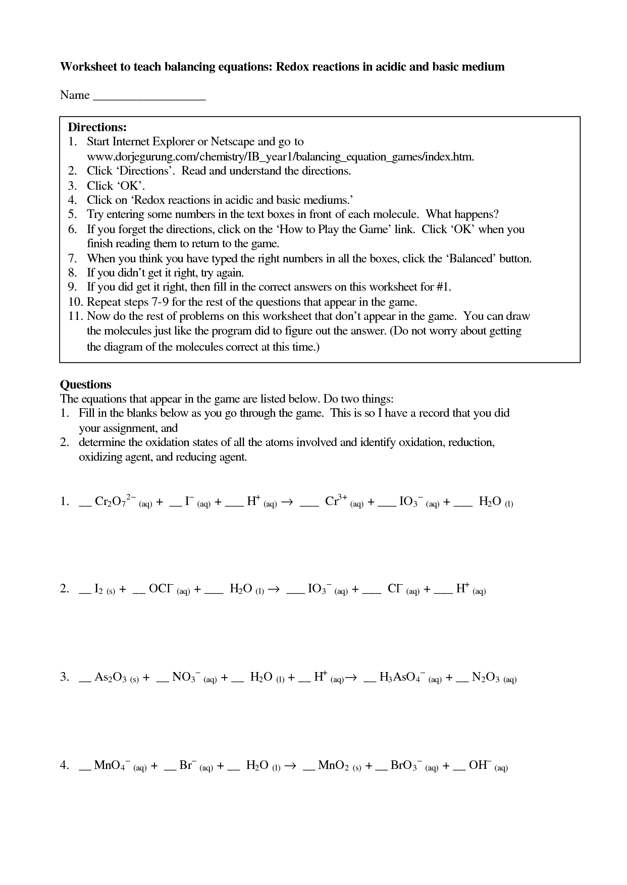 Balancing Redox Equations Worksheet Answers Chemistry