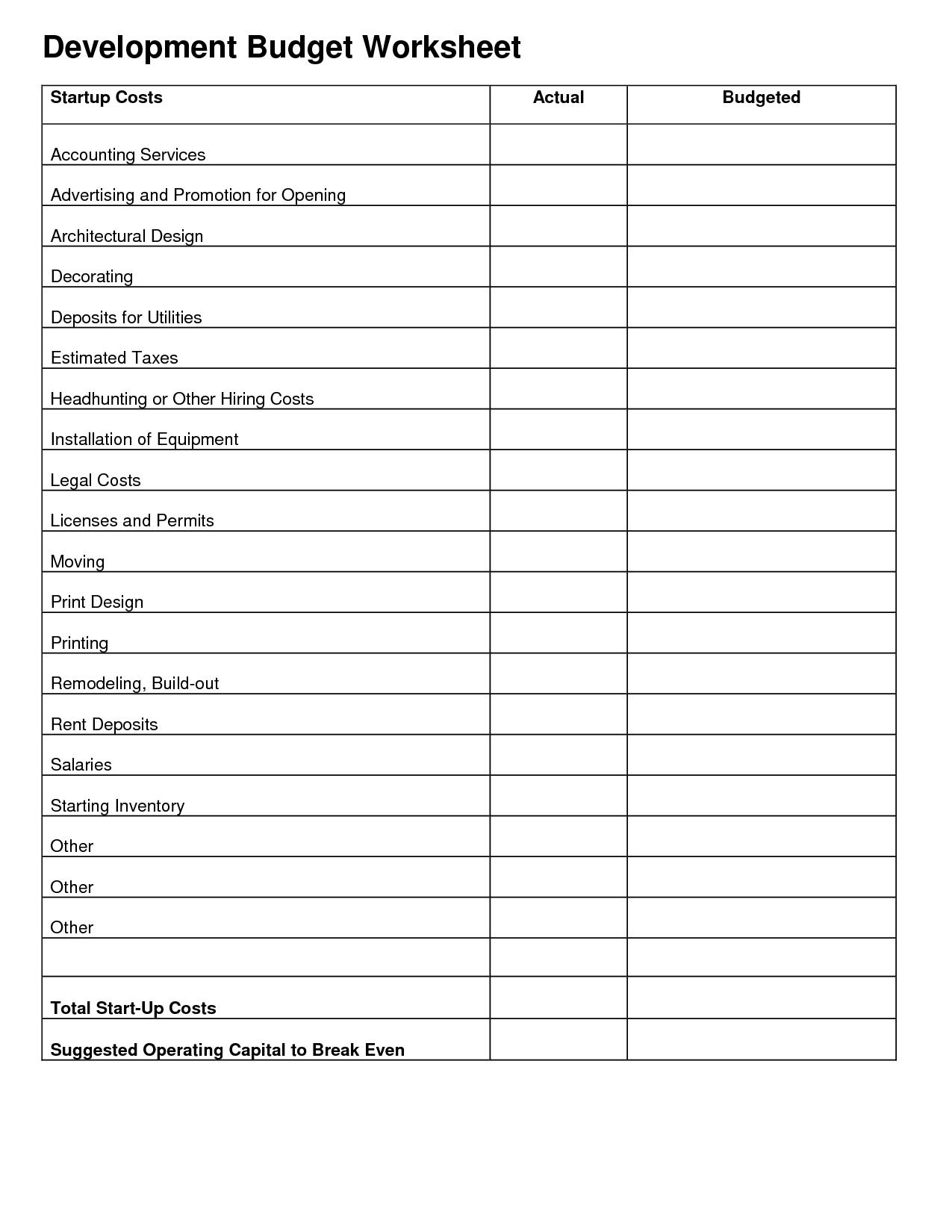 19 Best Images Of Starting A Budget Worksheet
