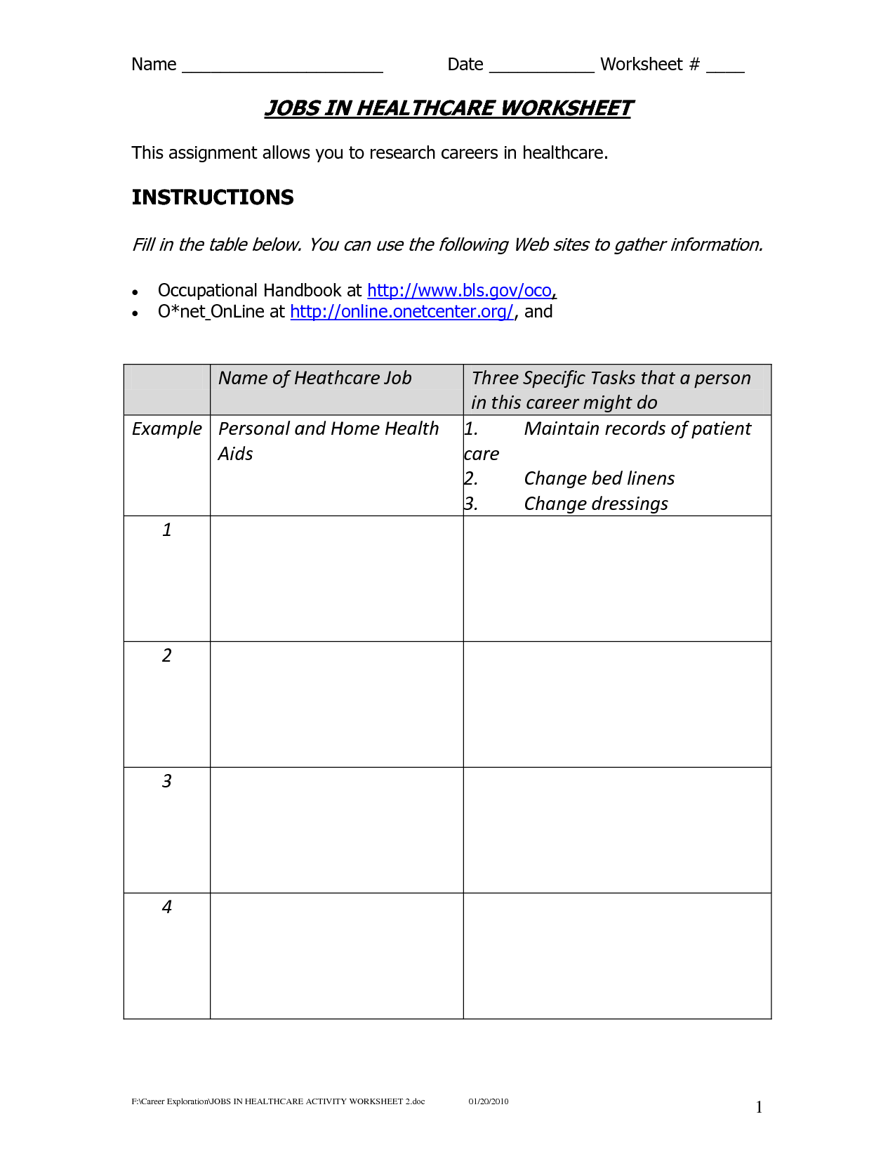 15 Best Images Of Elementary Career Worksheets For