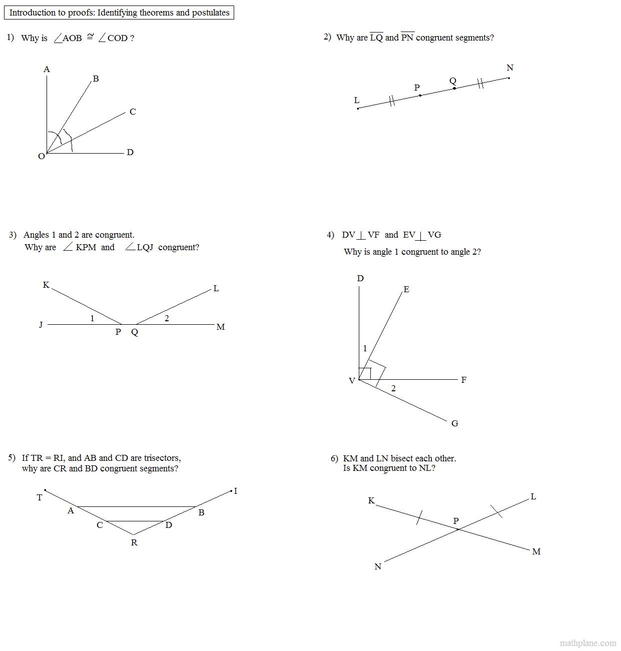 Congruent Supplements Theorem Worksheet