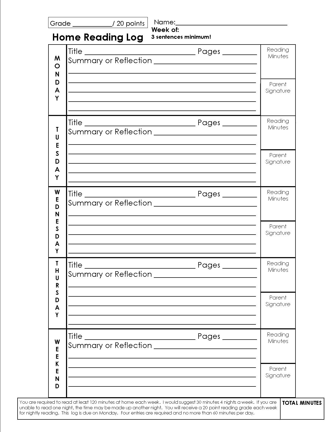 The Best Weekly Reading Log Printable