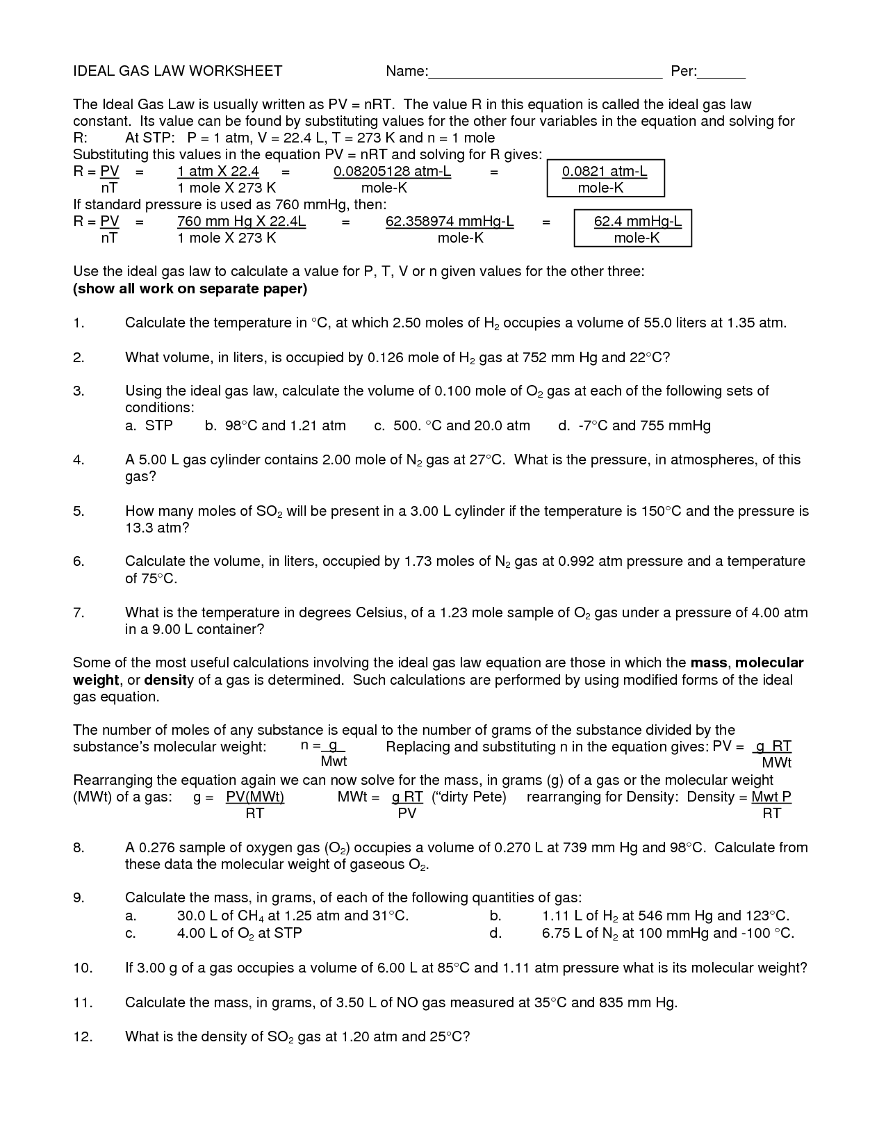Combined Gas Law Worksheet 1 Answers