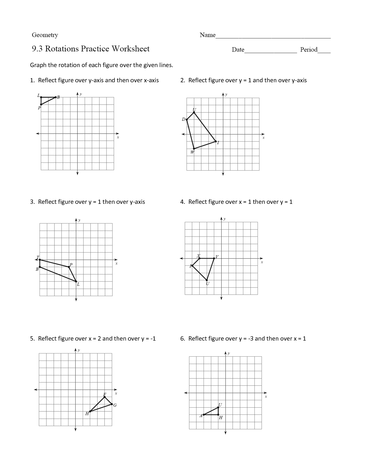 Geometry Rotations Worksheet 11 16