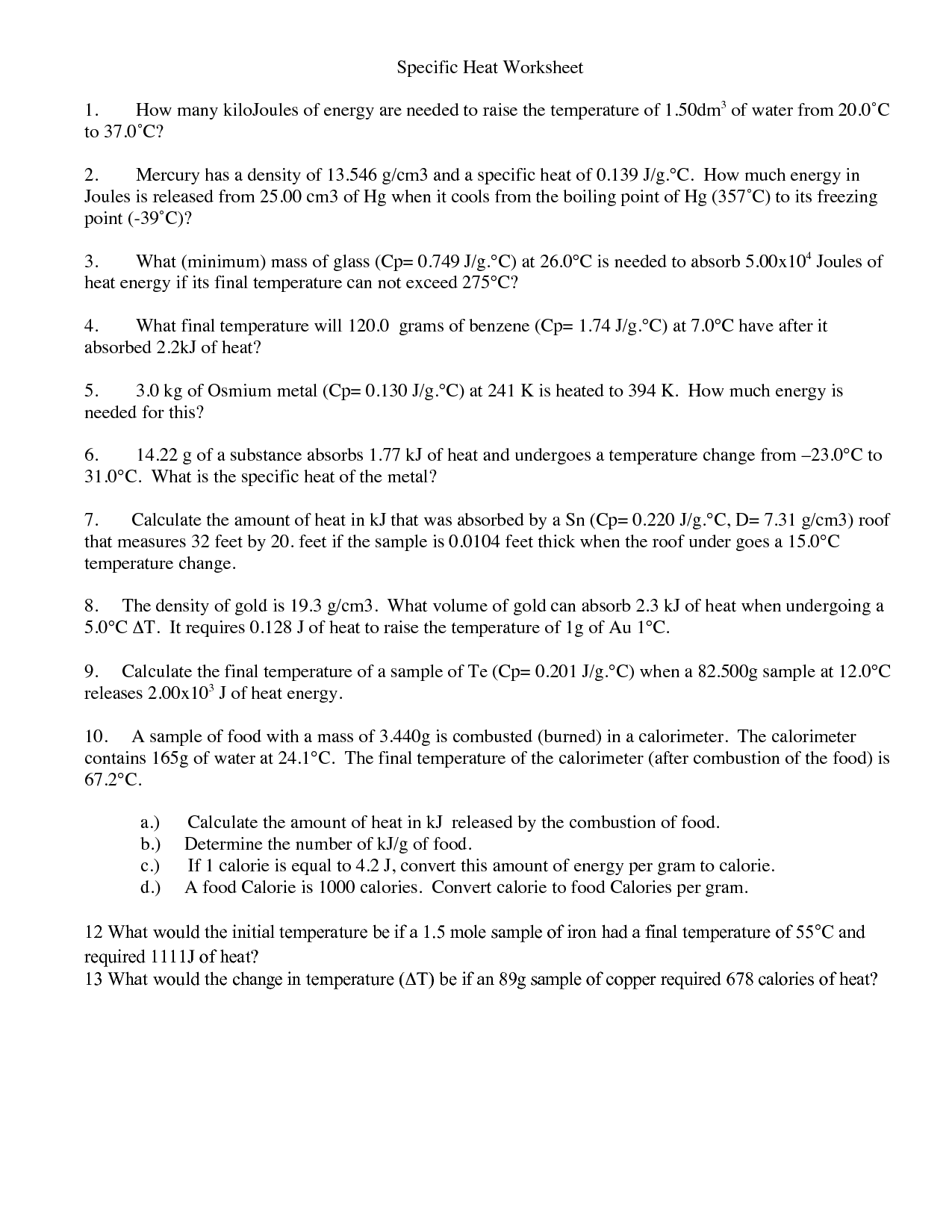 Worksheet Specific Heat Capacity Worksheet Grass Fedjp