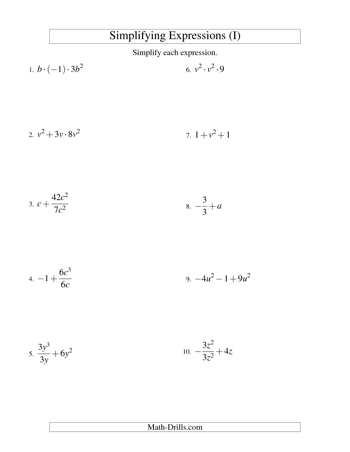 Simplifying And Evaluating Expressions Worksheet