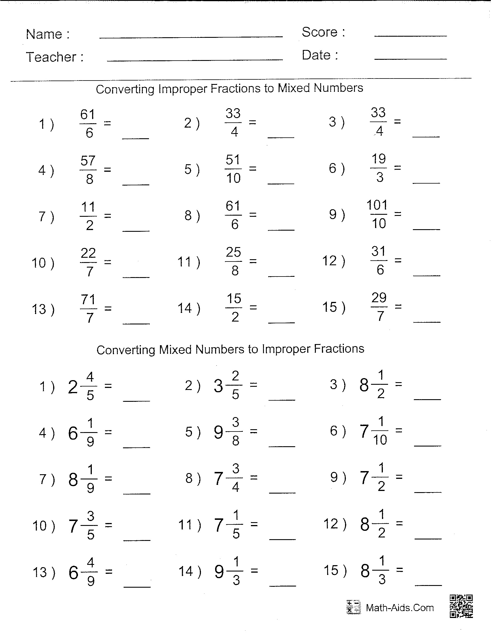 6th Grade Math Worksheets Printable Math Worksheets For Grade 6 Math Blaster