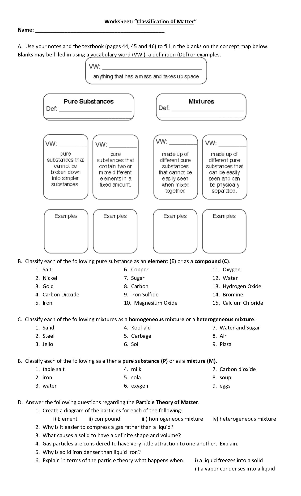 16 Best Images Of Classifying Matter Worksheet Classifying