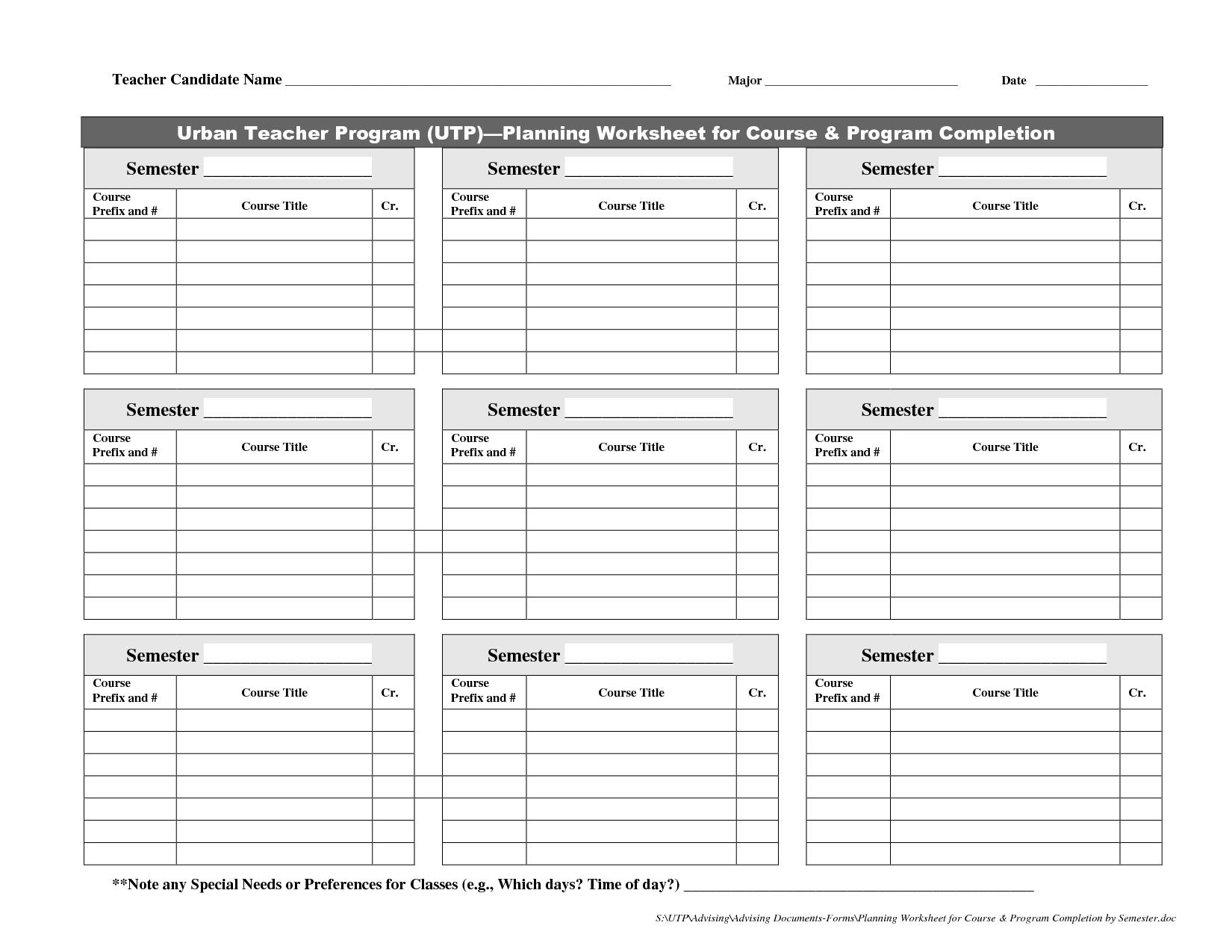 19 Best Images Of College Planning Worksheet