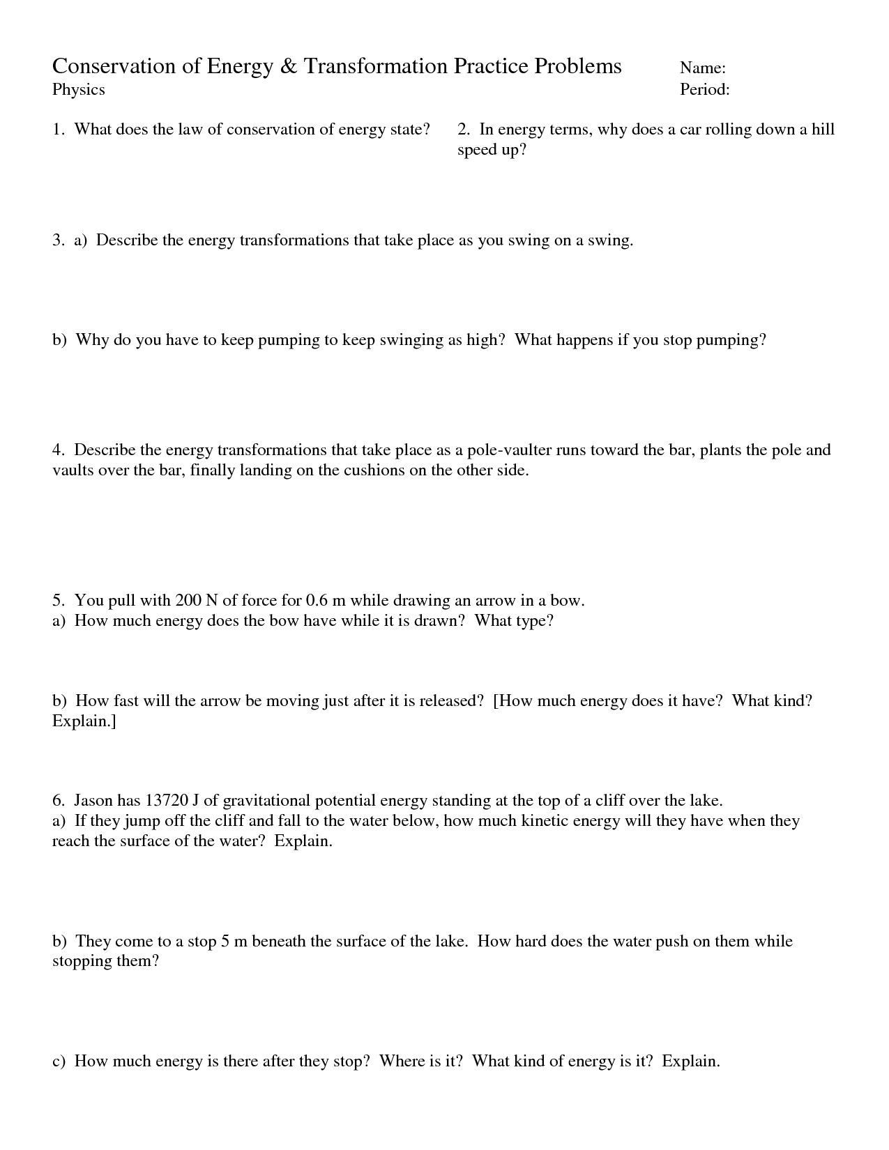 18 Best Images Of Energy Transfer Worksheet