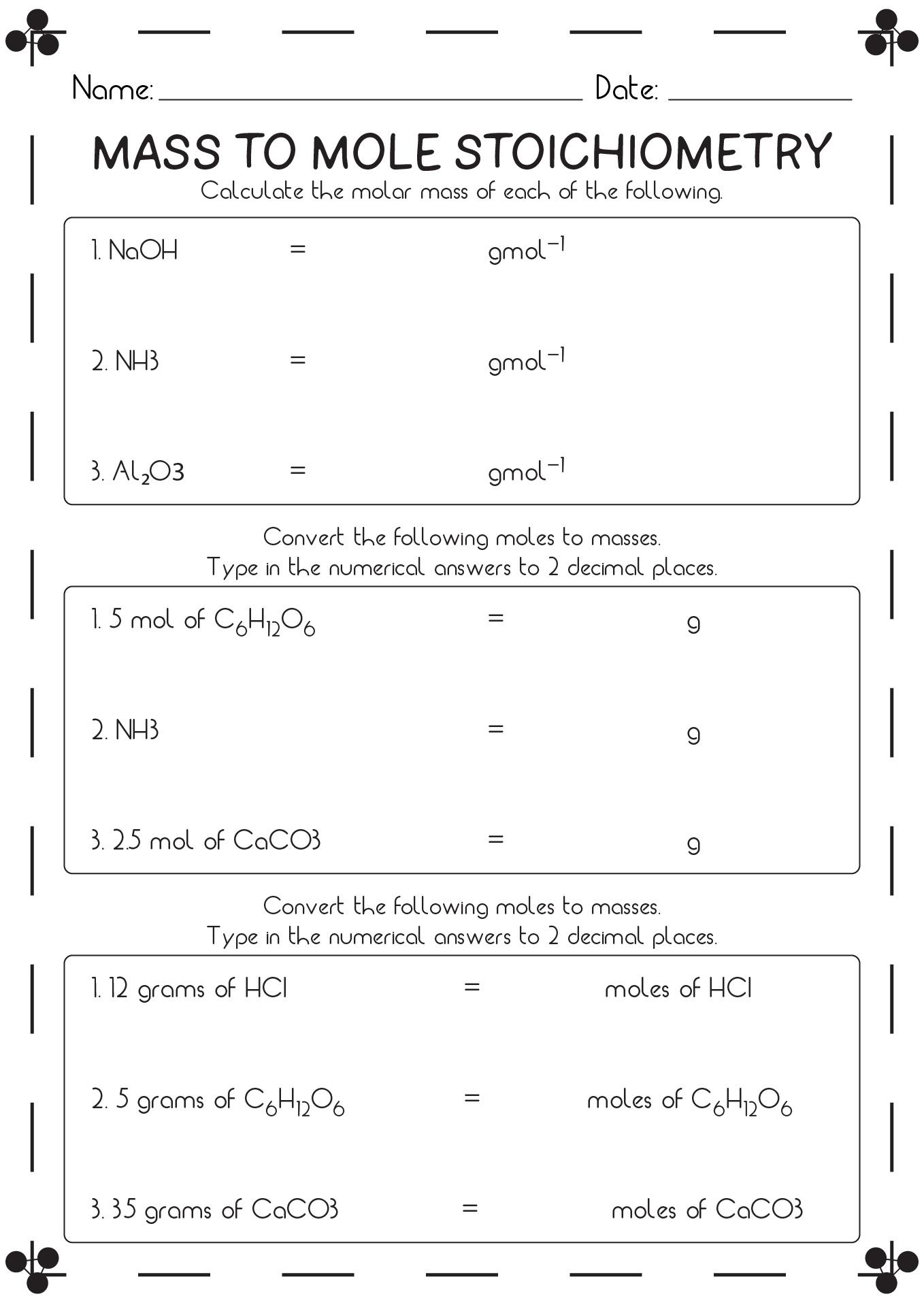 Stoichiometry Mole Mole Problems Worksheet