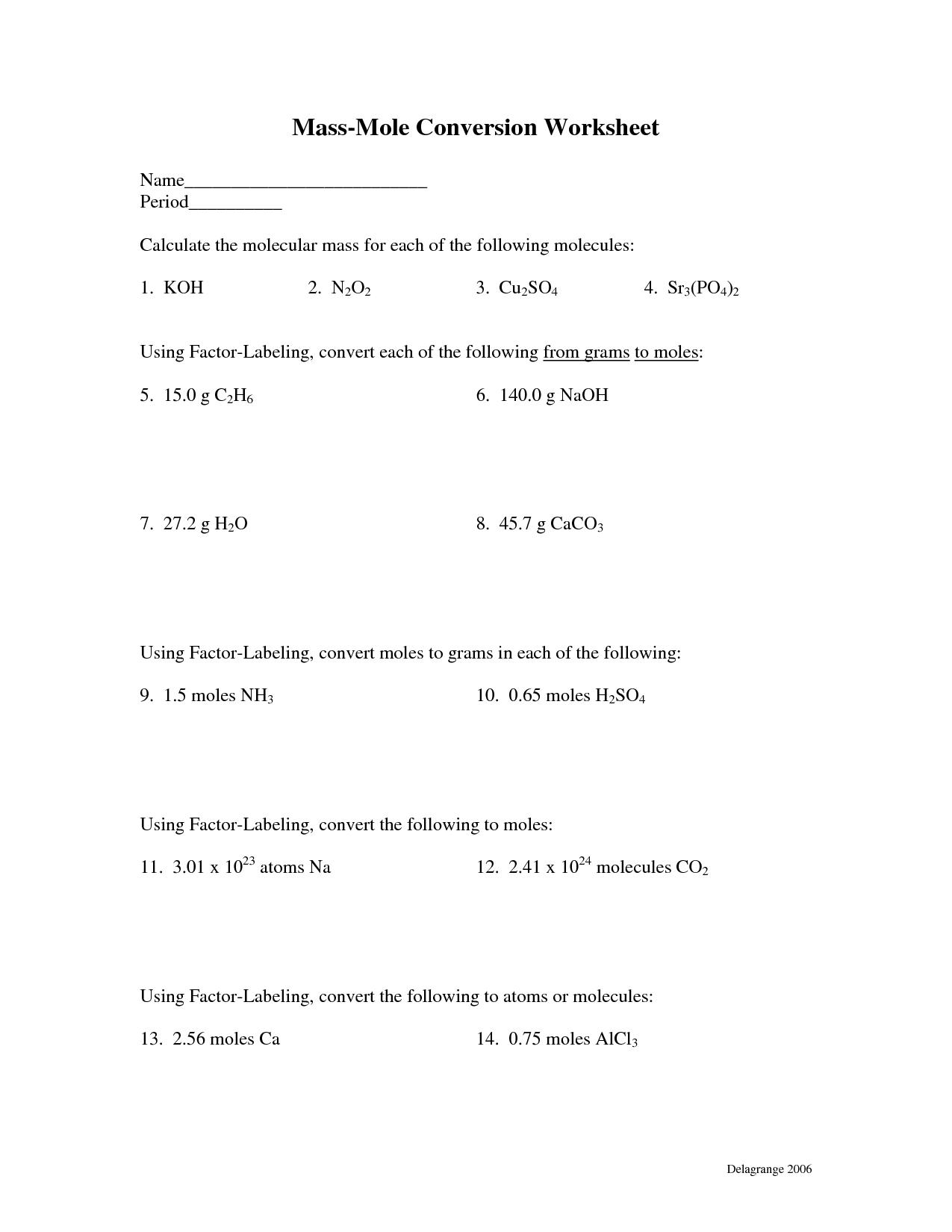 18 Best Images Of Mole Conversion Problems Worksheet