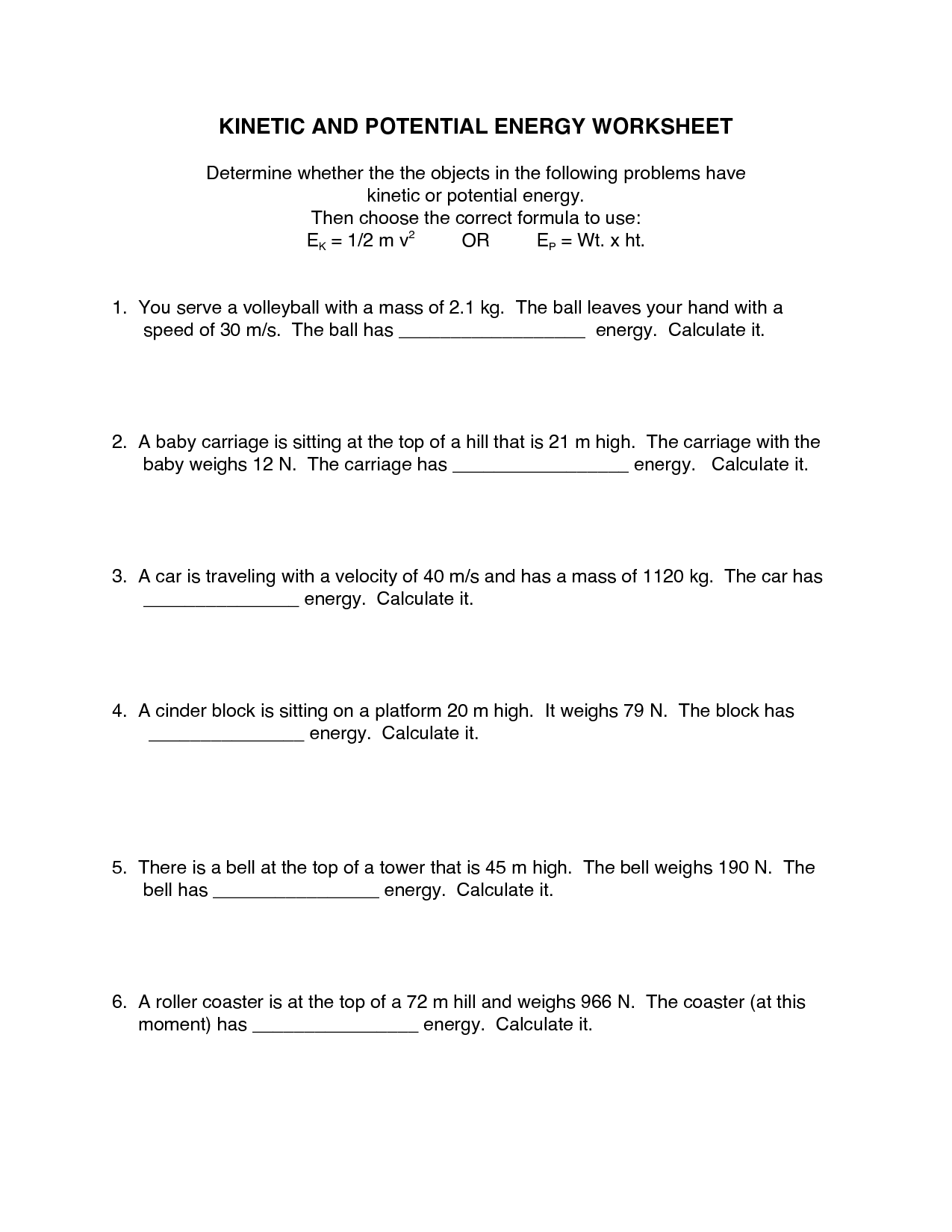 Physics Worksheet Category Page 1