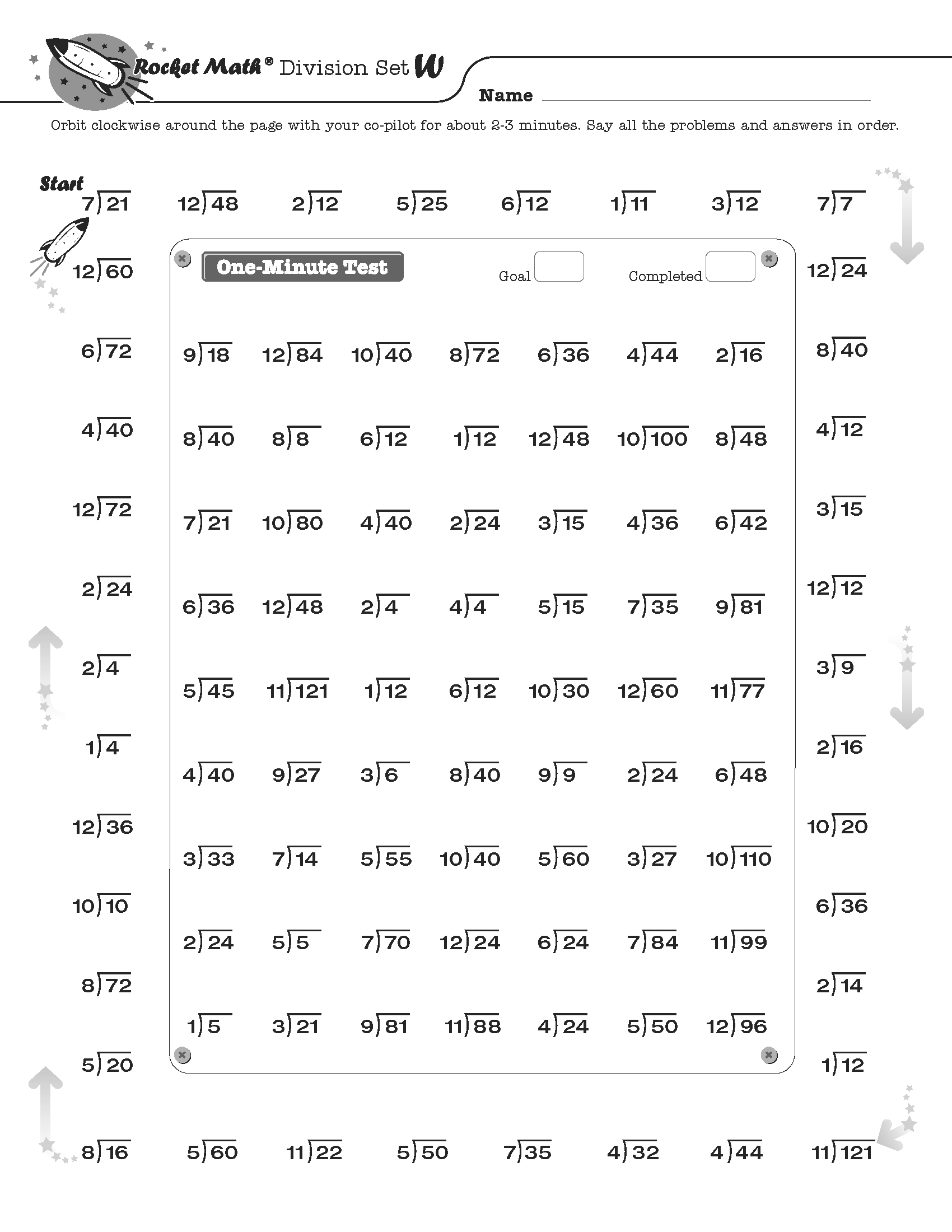 Division Worksheet Bus Stop