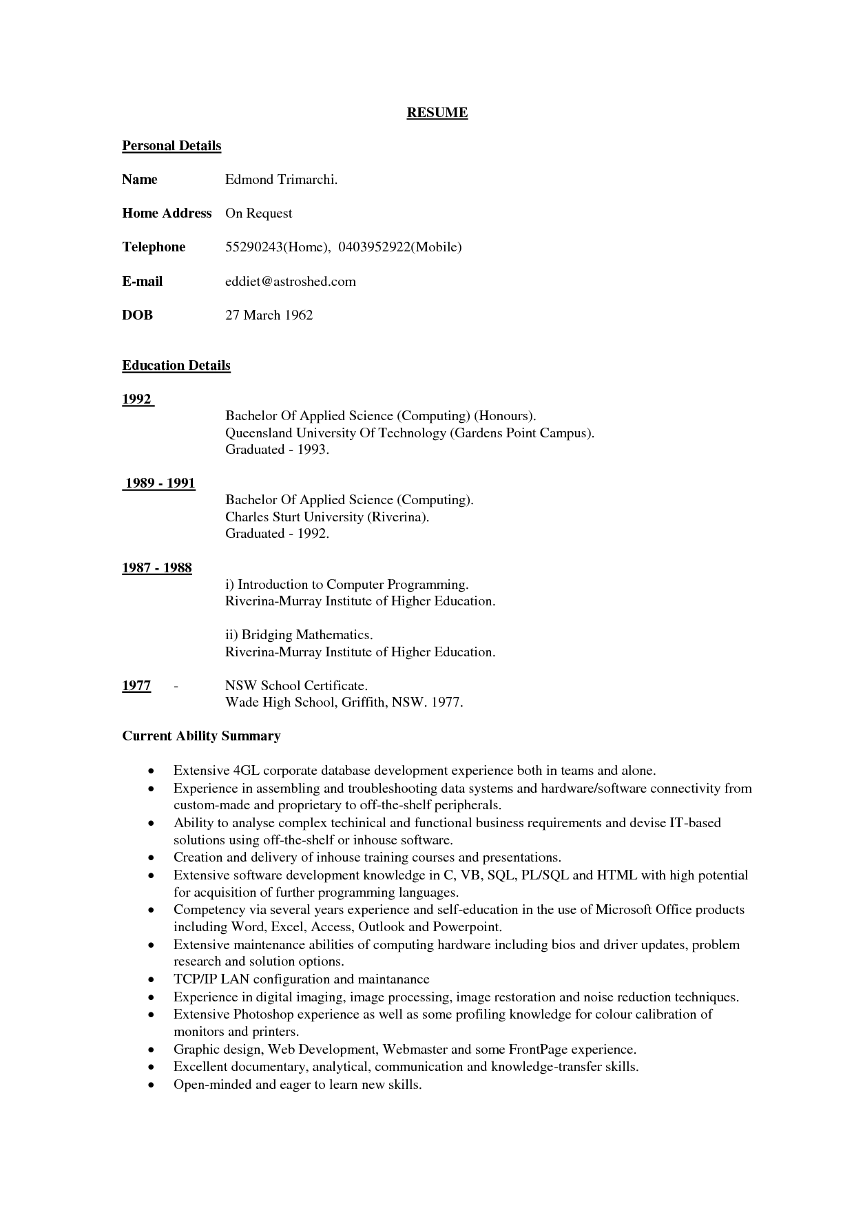 15 Best Images Of Instant Resume Worksheet