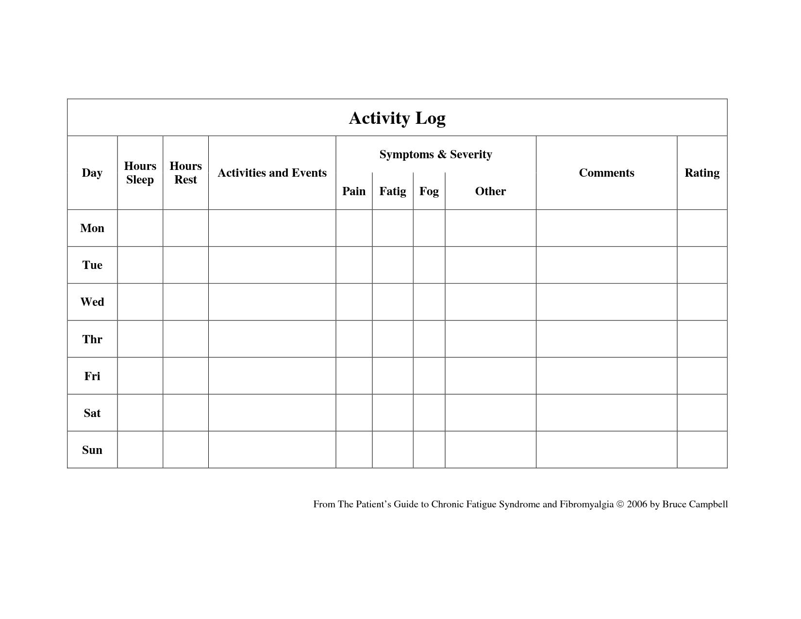 Diary Worksheet Template