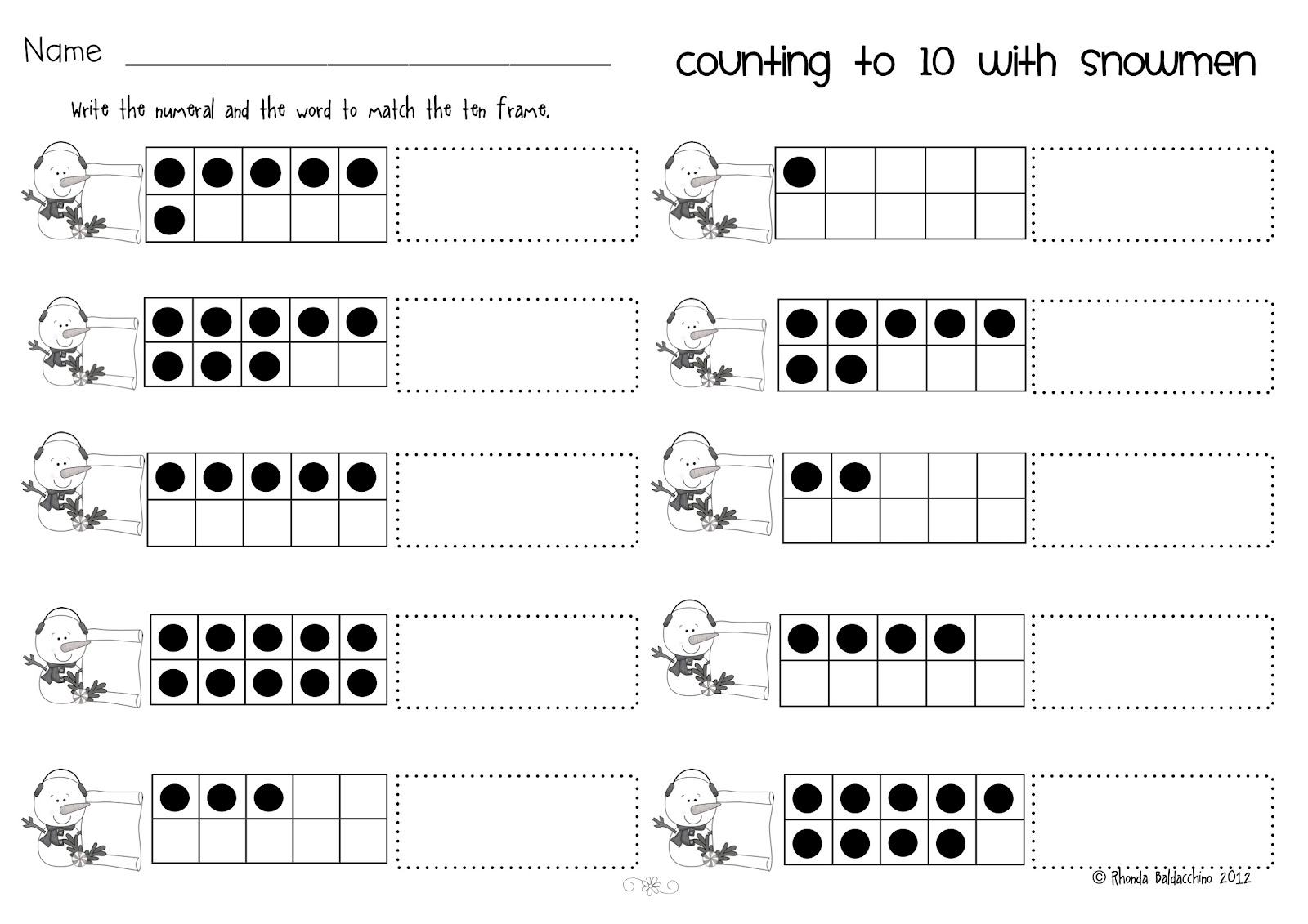 18 Best Images Of Ten Frame Counting Worksheets