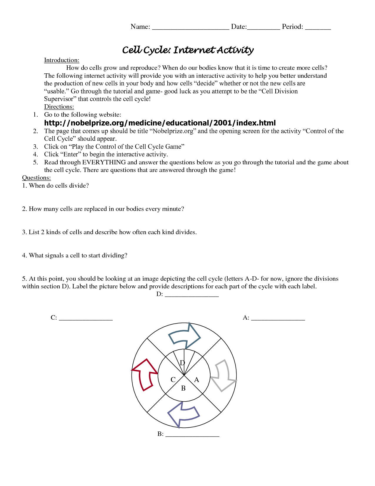 Mitosis And Cancer Worksheet Cell Division And The Cell Cycle Worksheet Answers Worksheet