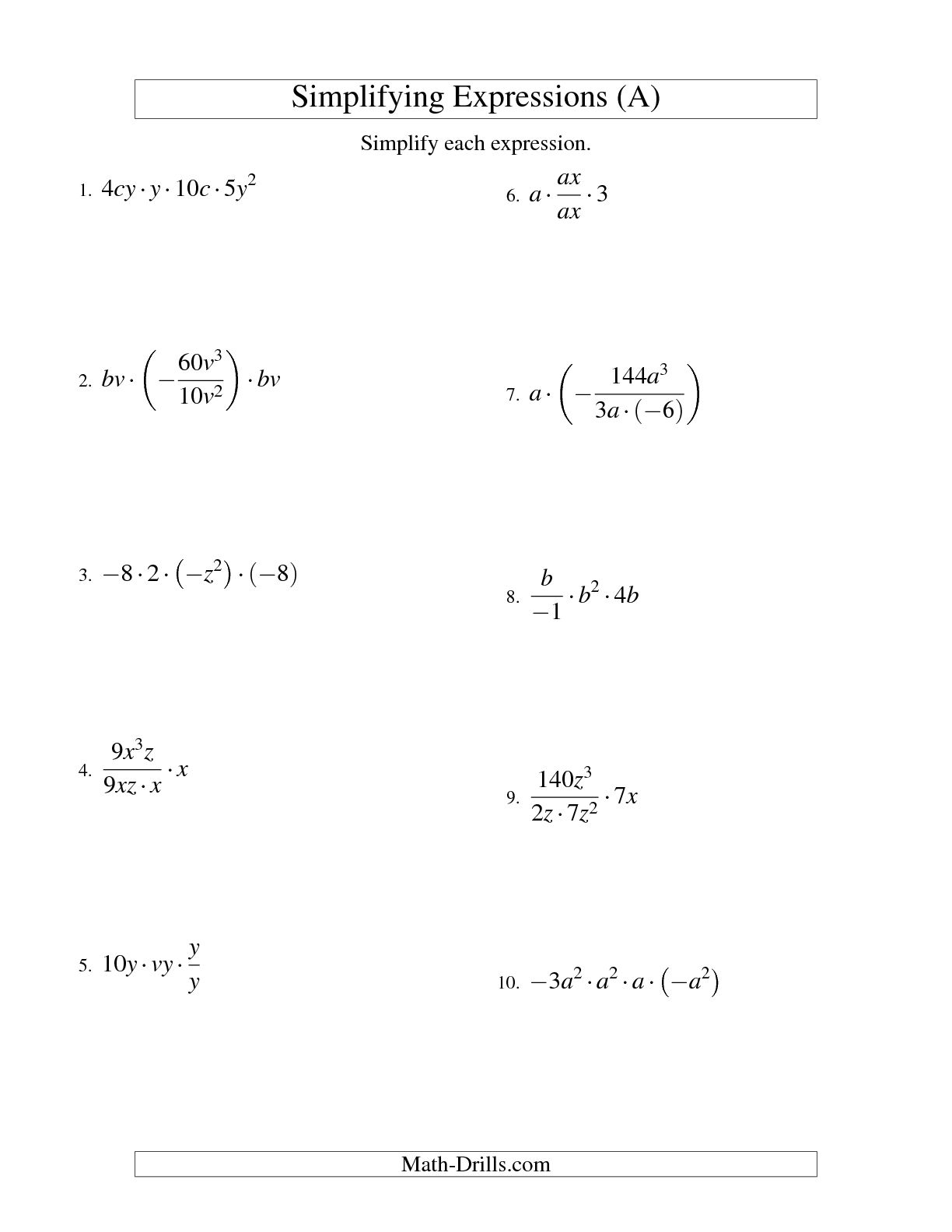 14 Best Images Of Algebra Variables And Expressions Worksheet