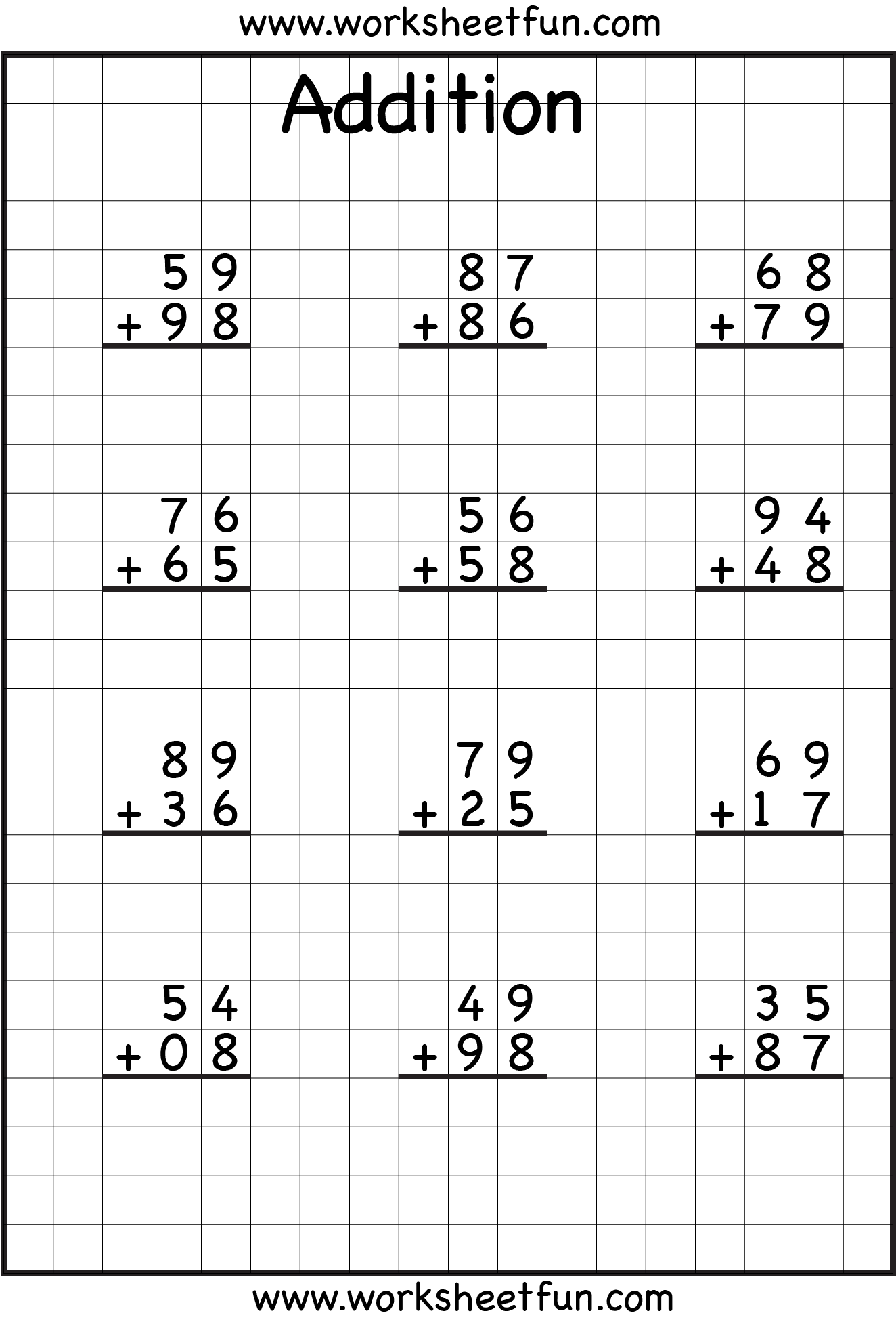 Double Digit Addition Worksheet Free