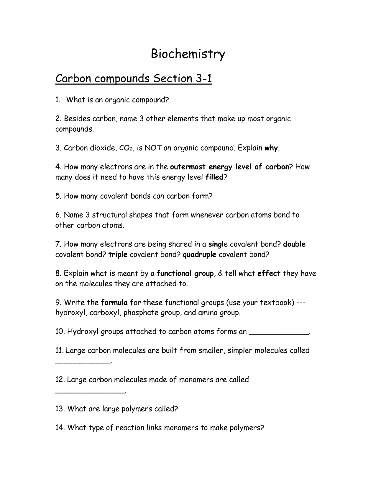35 Carbon Compounds Worksheet Answers
