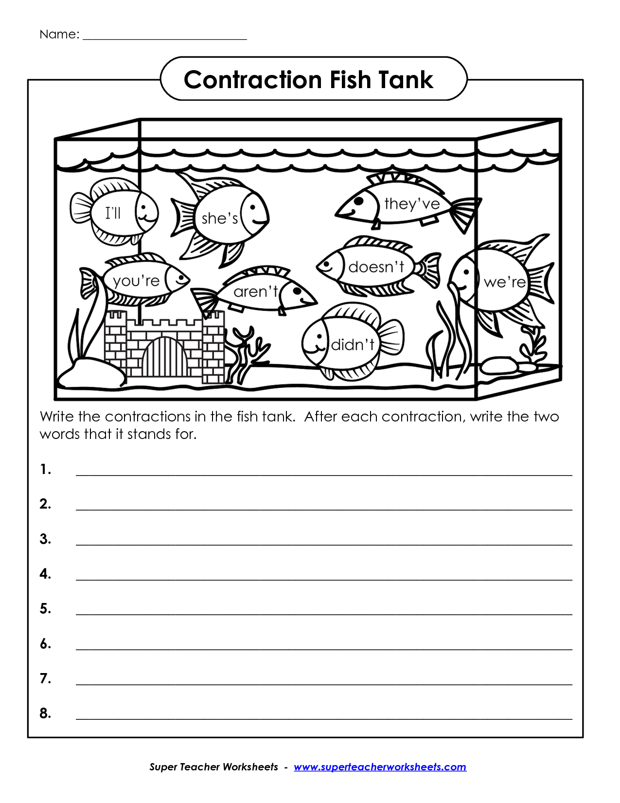 Contraction Worksheet For 1st