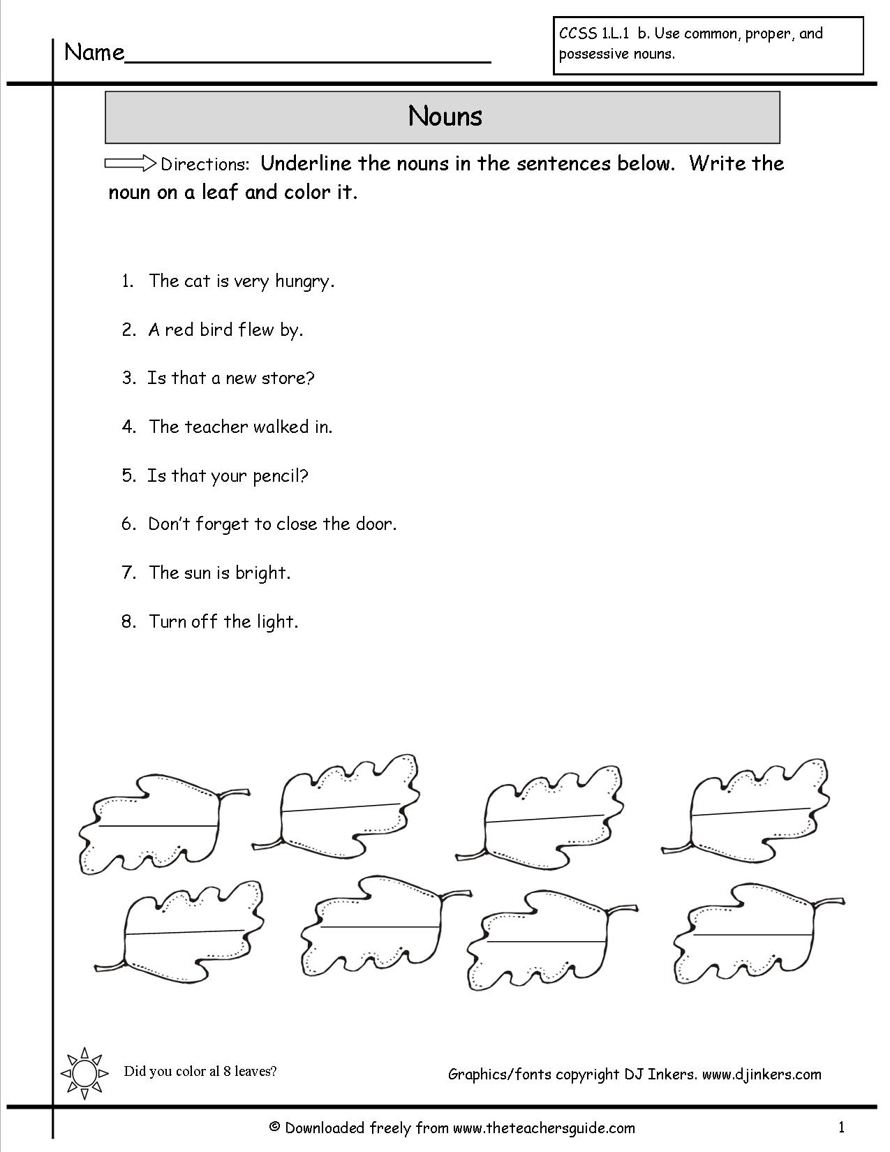 14 Best Images Of Identifying Nouns Worksheet