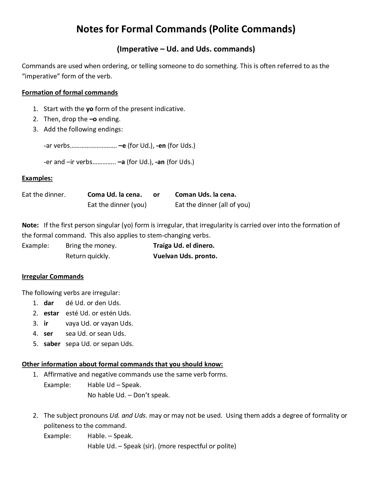 Spanish Commands Worksheet