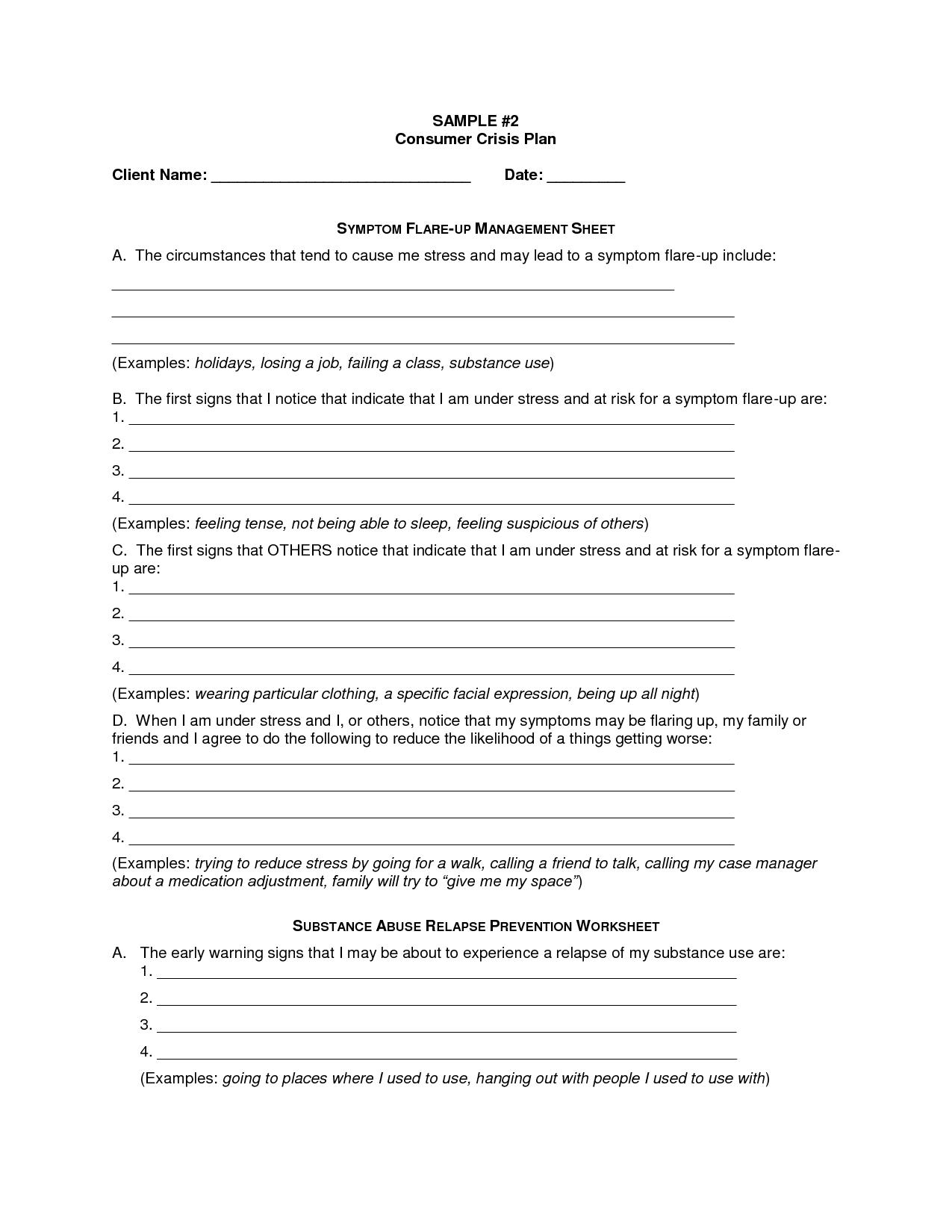 Adult Coping Skills Worksheet