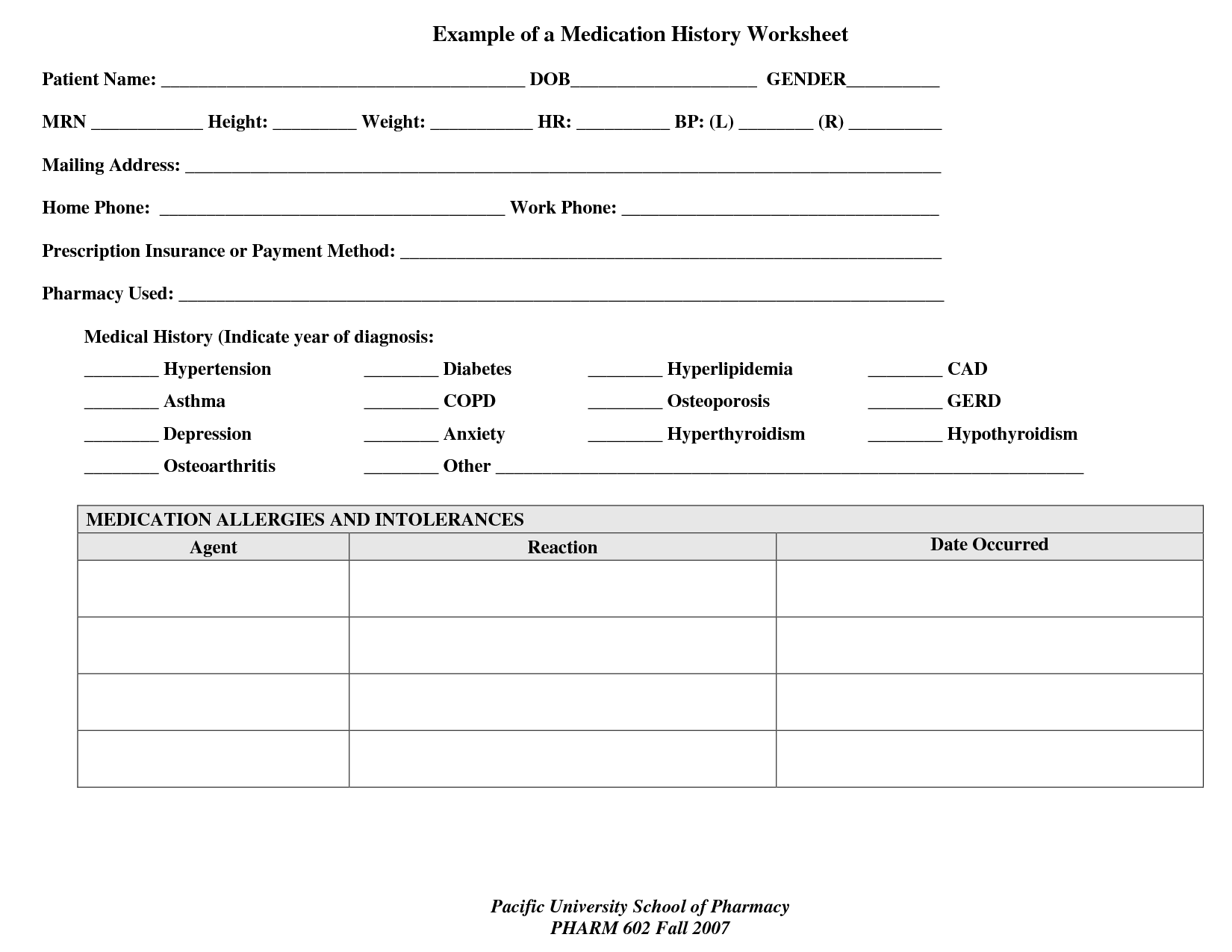 Medication Worksheet For Patients