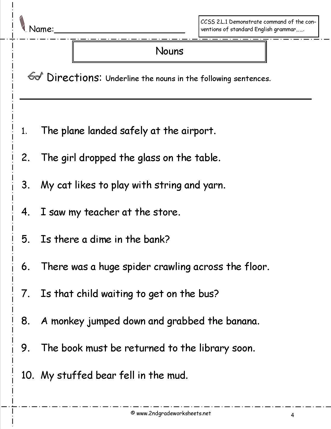 10 Best Images Of Free Printable Noun Worksheets Middle