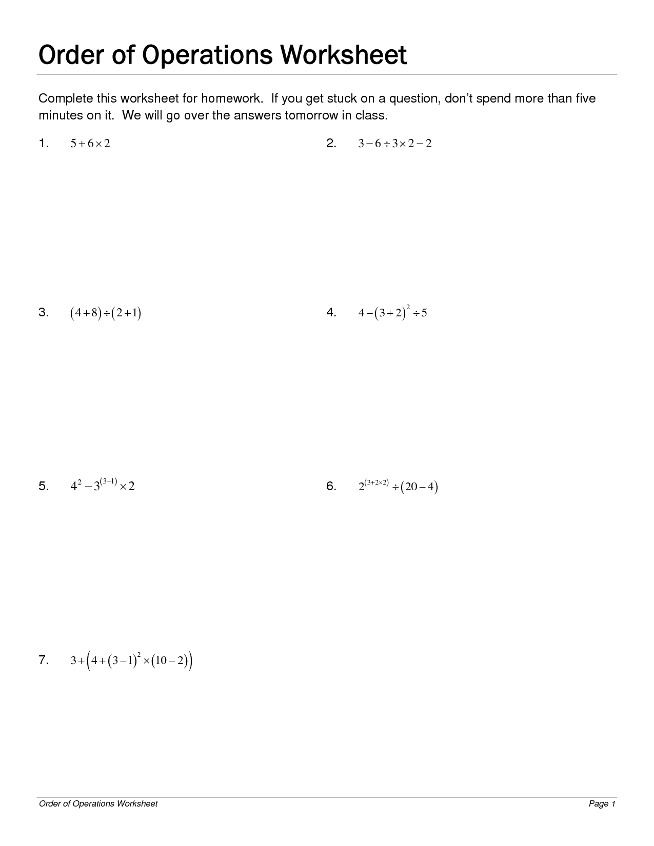 12 Best Images Of Order Of Operations Worksheets