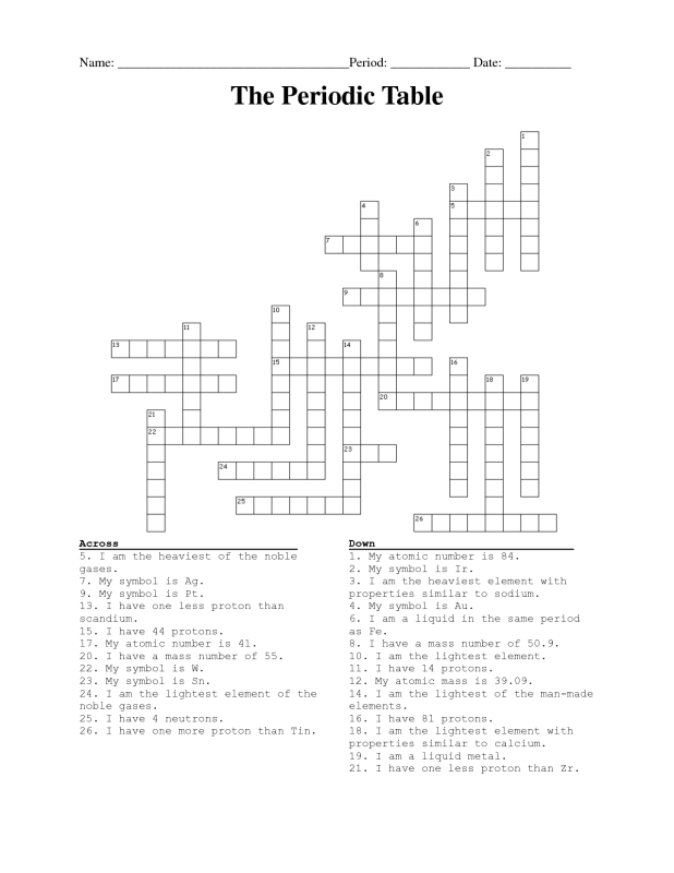 Periodic Table Crossword Puzzle Answers Brokeasshome