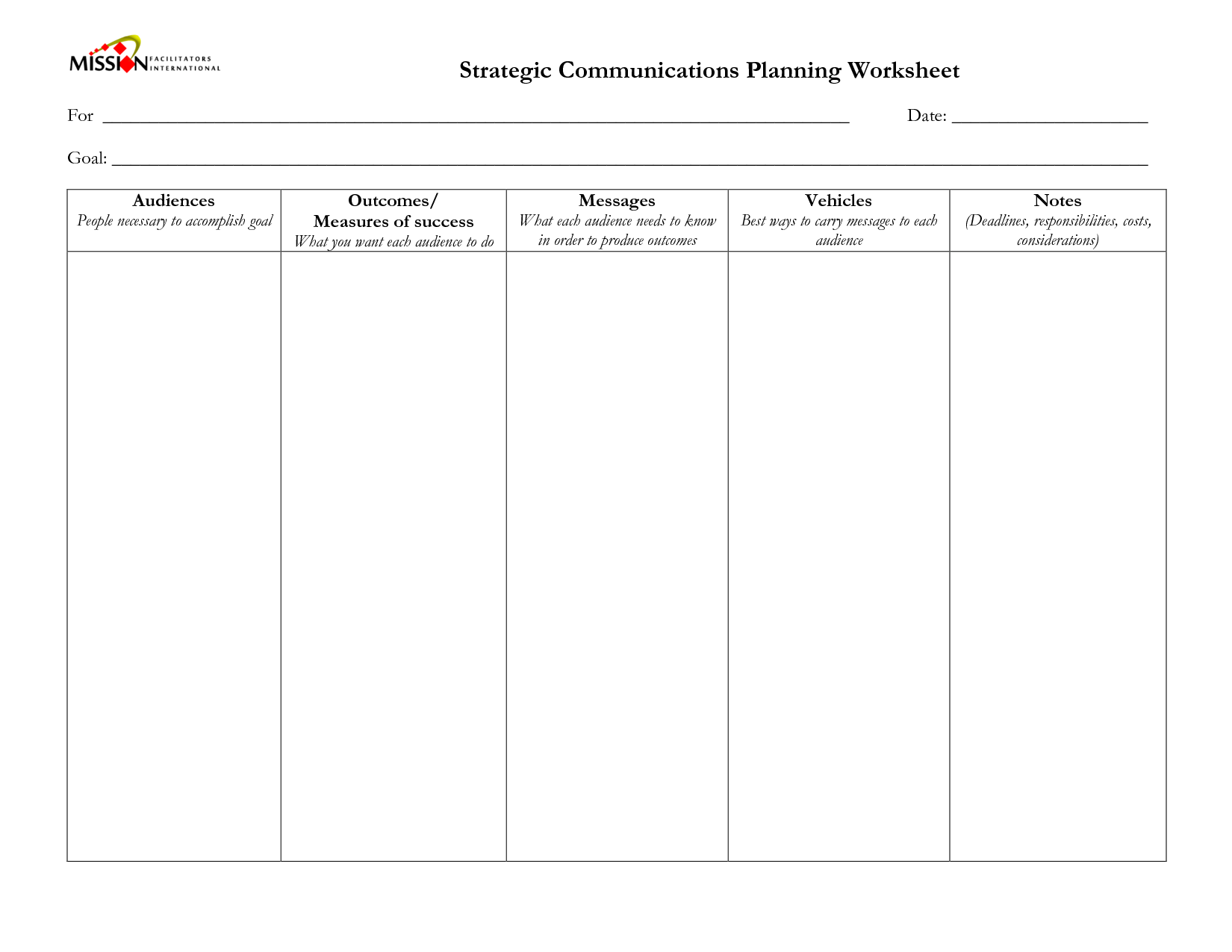 19 Best Images Of Strategic Goals Worksheet