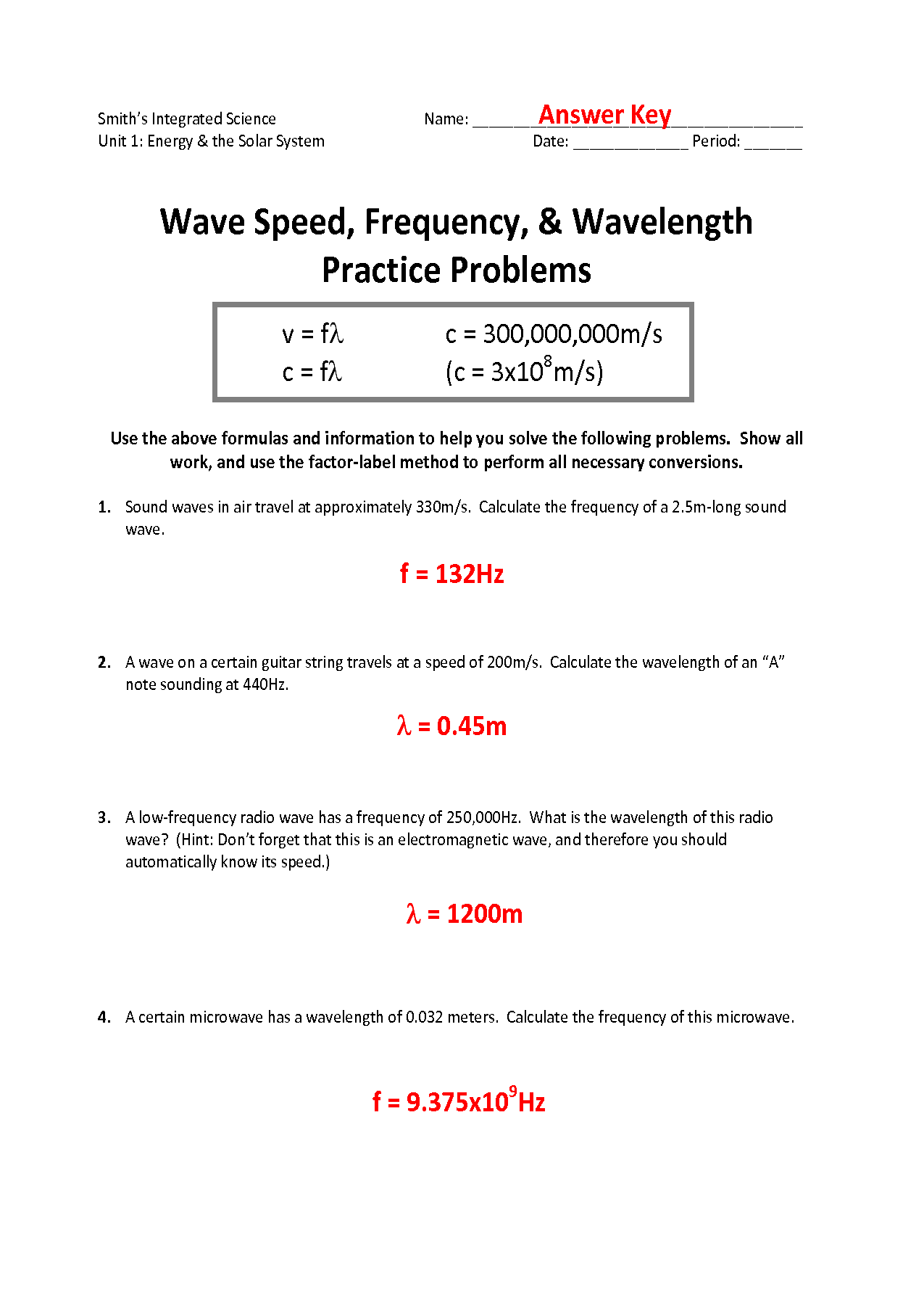 Speed Of Light Problems Worksheet
