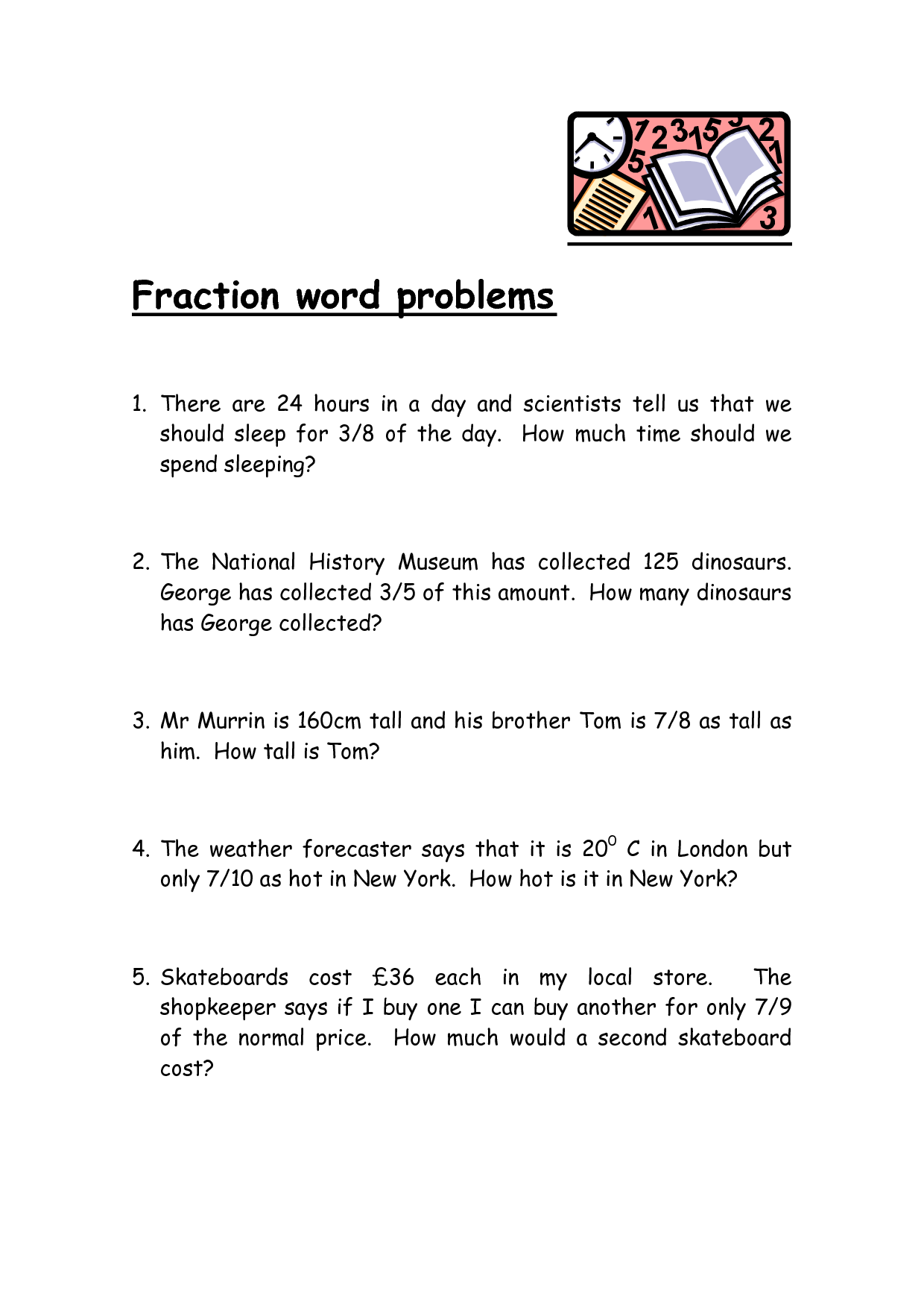 Comparing Fractions Word Problems 3rd Grade