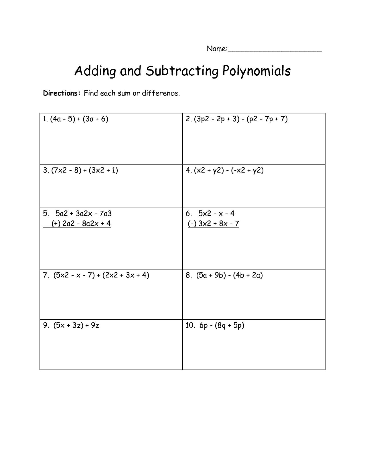 Adding Polynomials Worksheet Fun