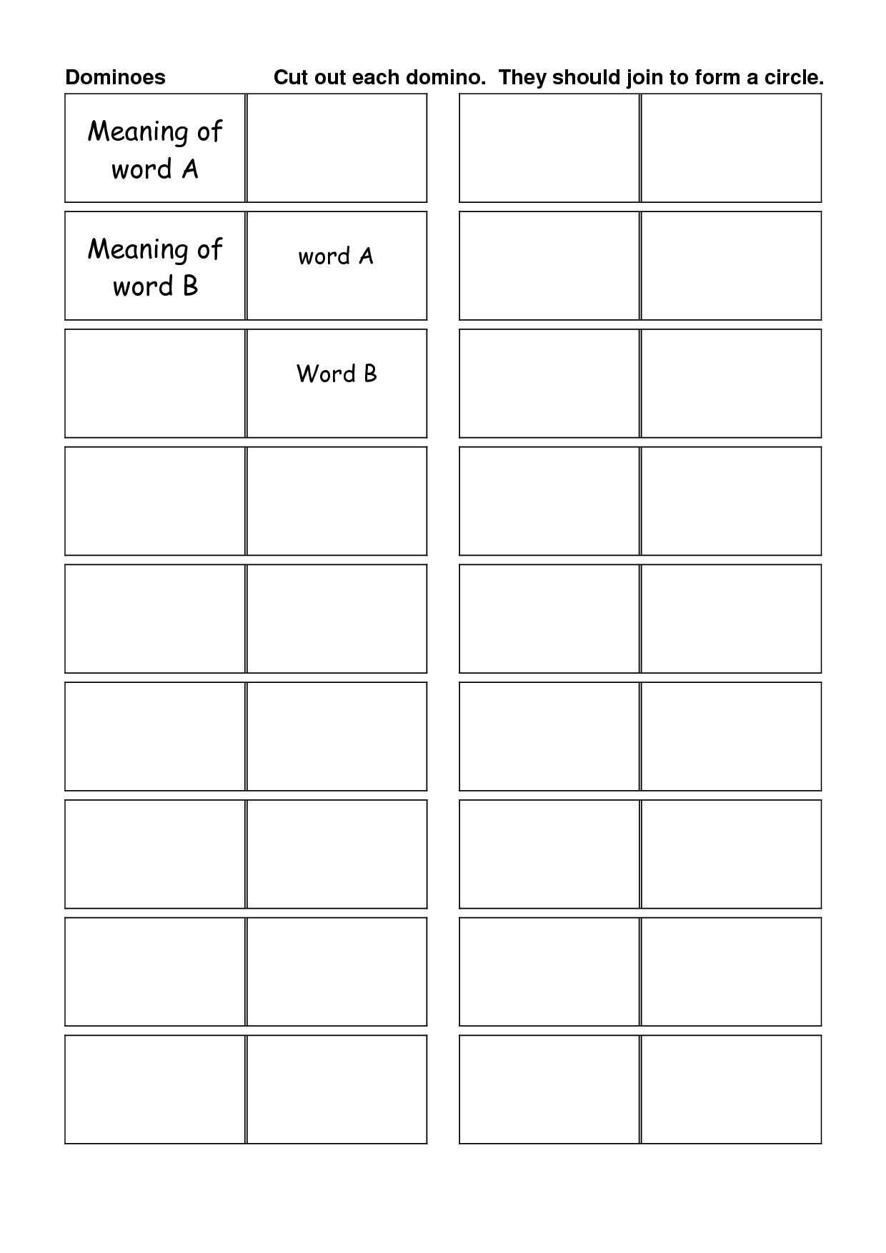 15 Best Images Of Blank Domino Worksheets