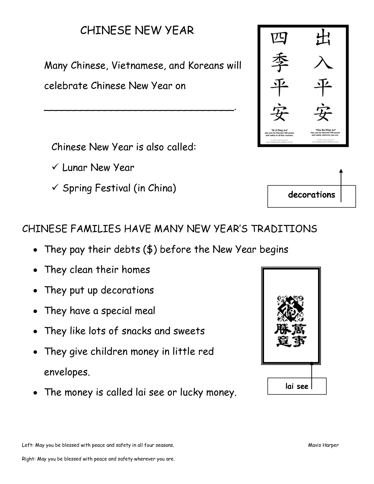 New Year S Worksheet