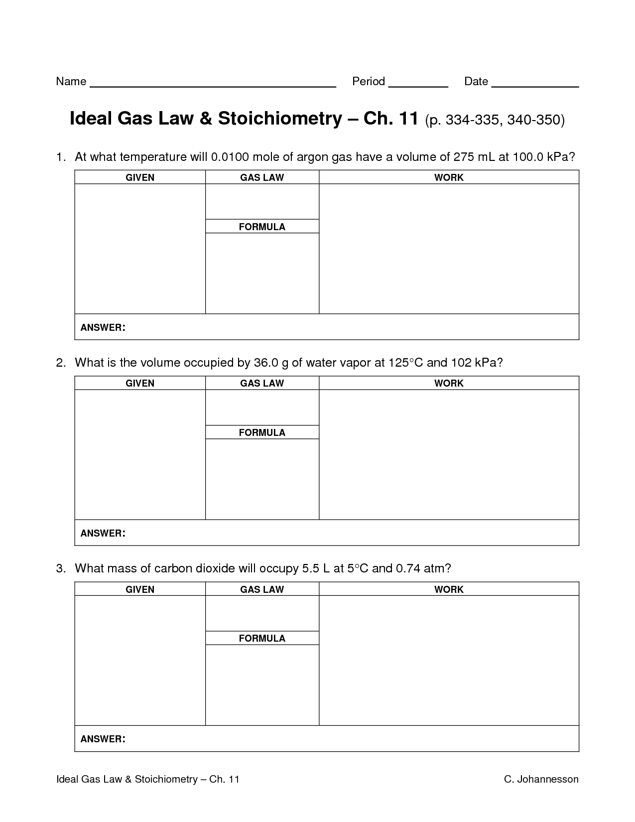 14 Best Images Of Ideal Gas Law Worksheet Answer Key