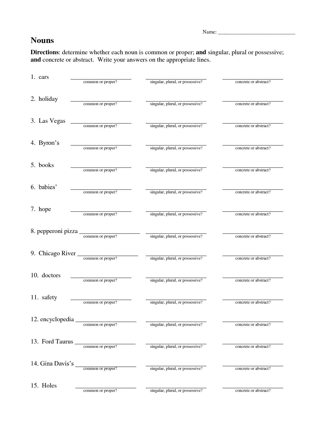 Plural Nouns Worksheet With Answers