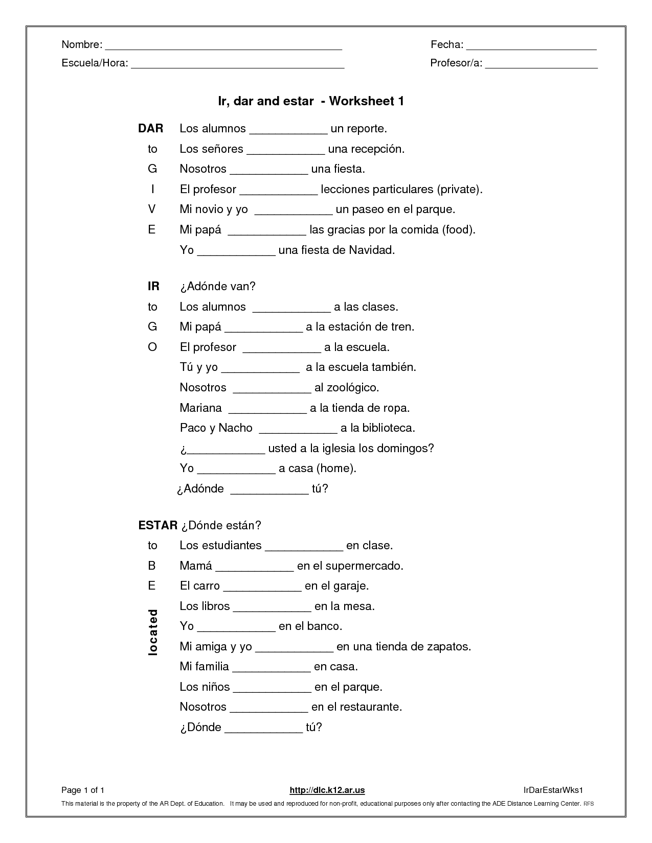 Spanish 2 Worksheet Answers