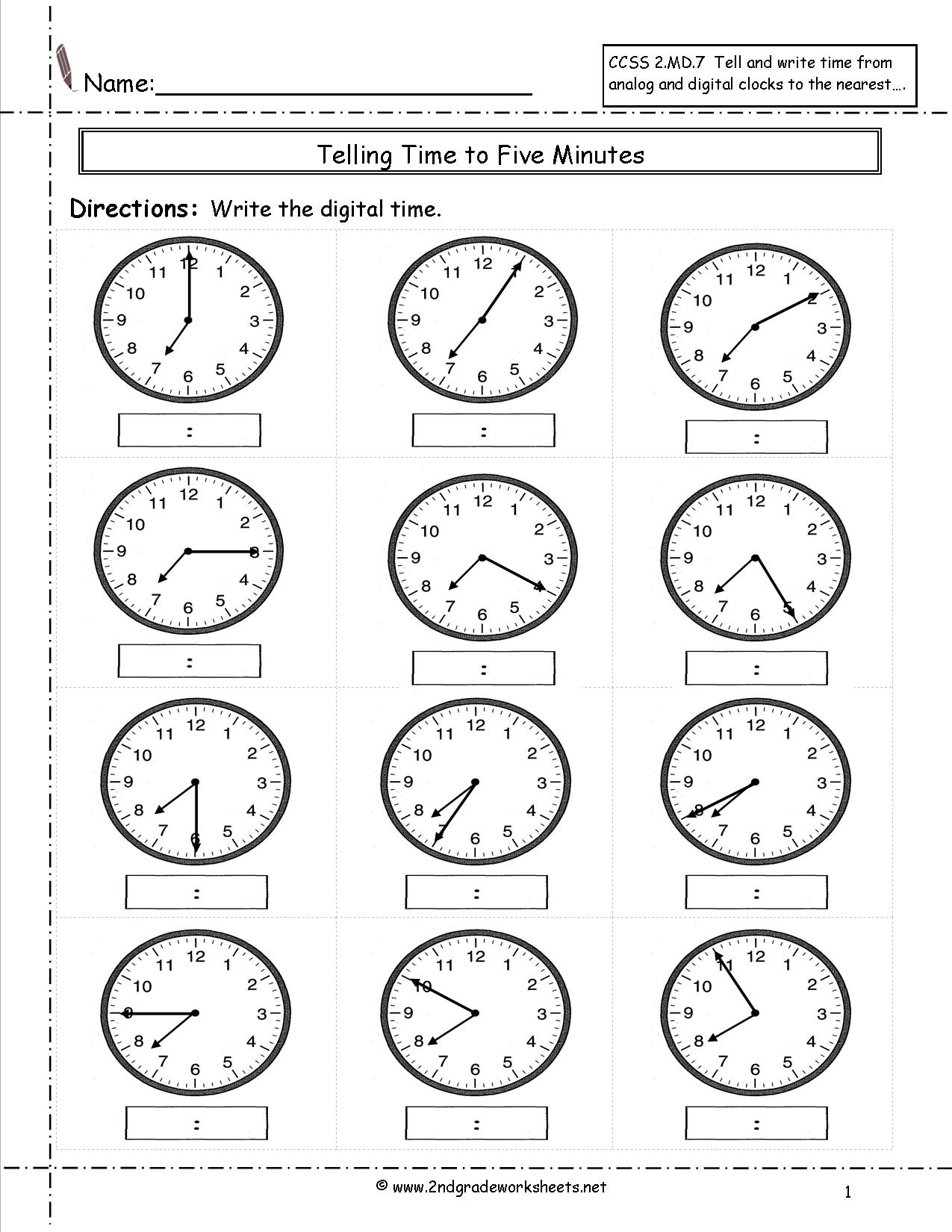 13 Best Images Of Telling Time Worksheets For Third Grade