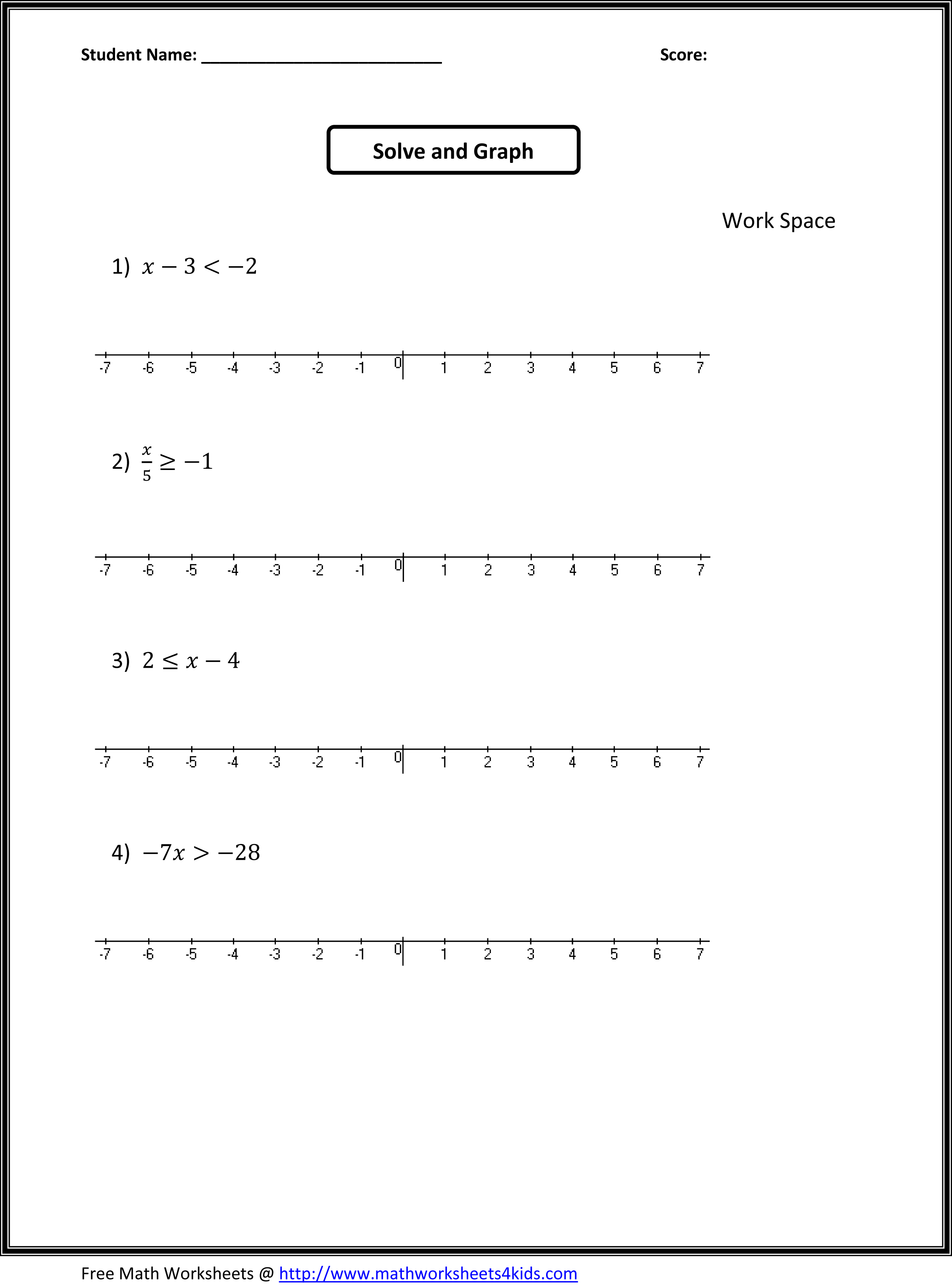 16 Best Images Of Algebra 1 Graphing Worksheets