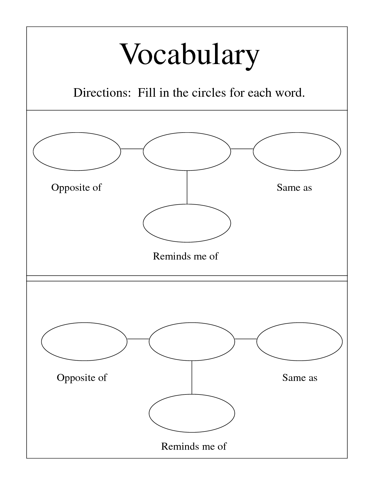 12 Best Images Of Blank Vocab Worksheets