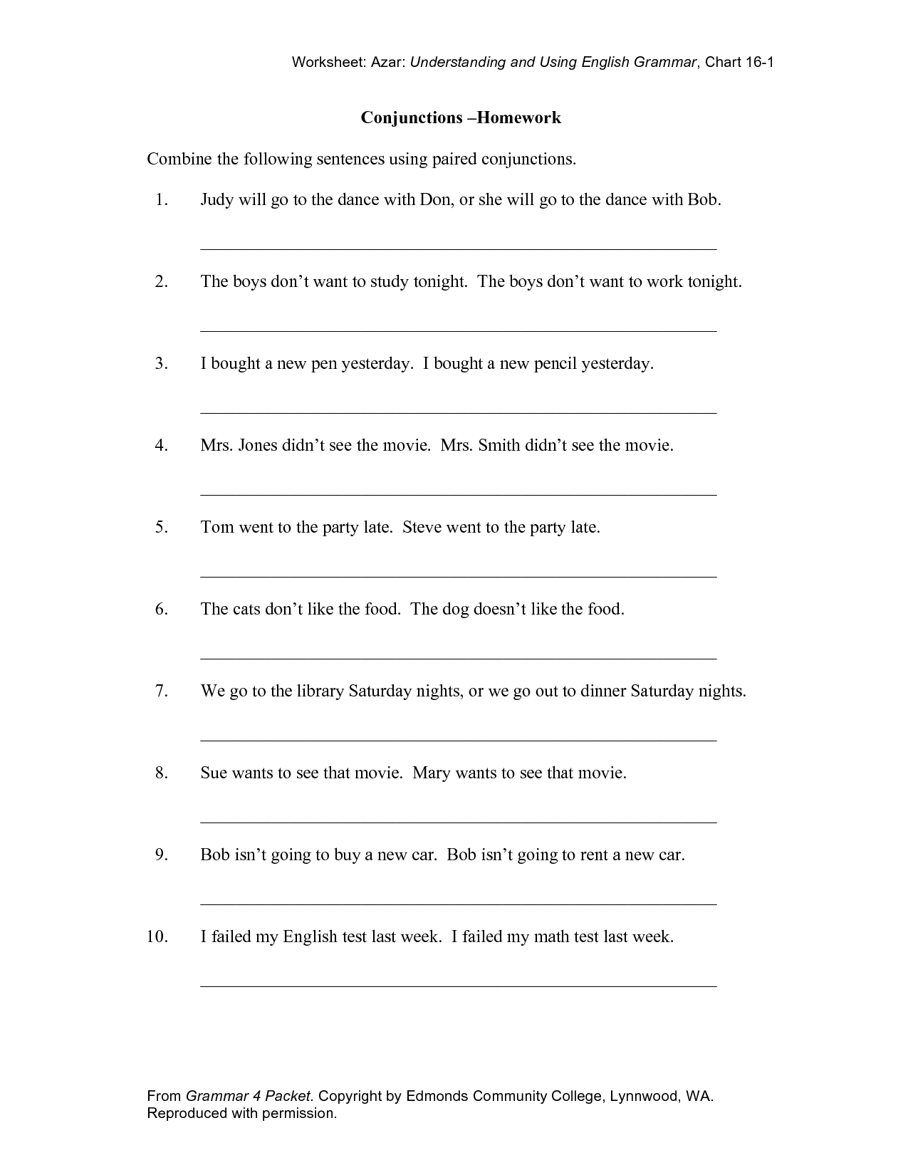 Worksheet Place Conjunctions